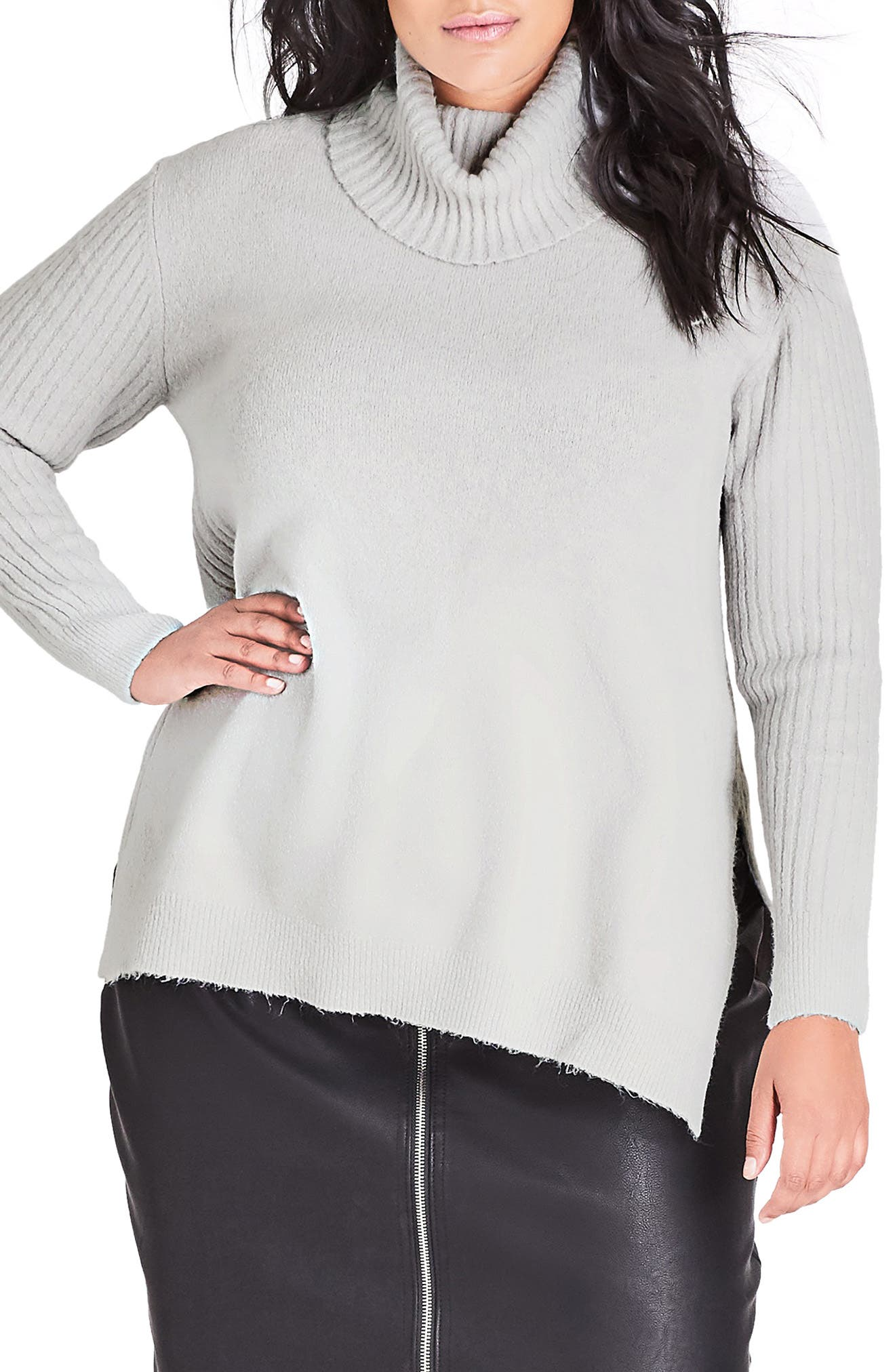 CITY CHIC,                             Turtleneck Sweater,                             Main thumbnail 1, color,                             SILVER MARLE