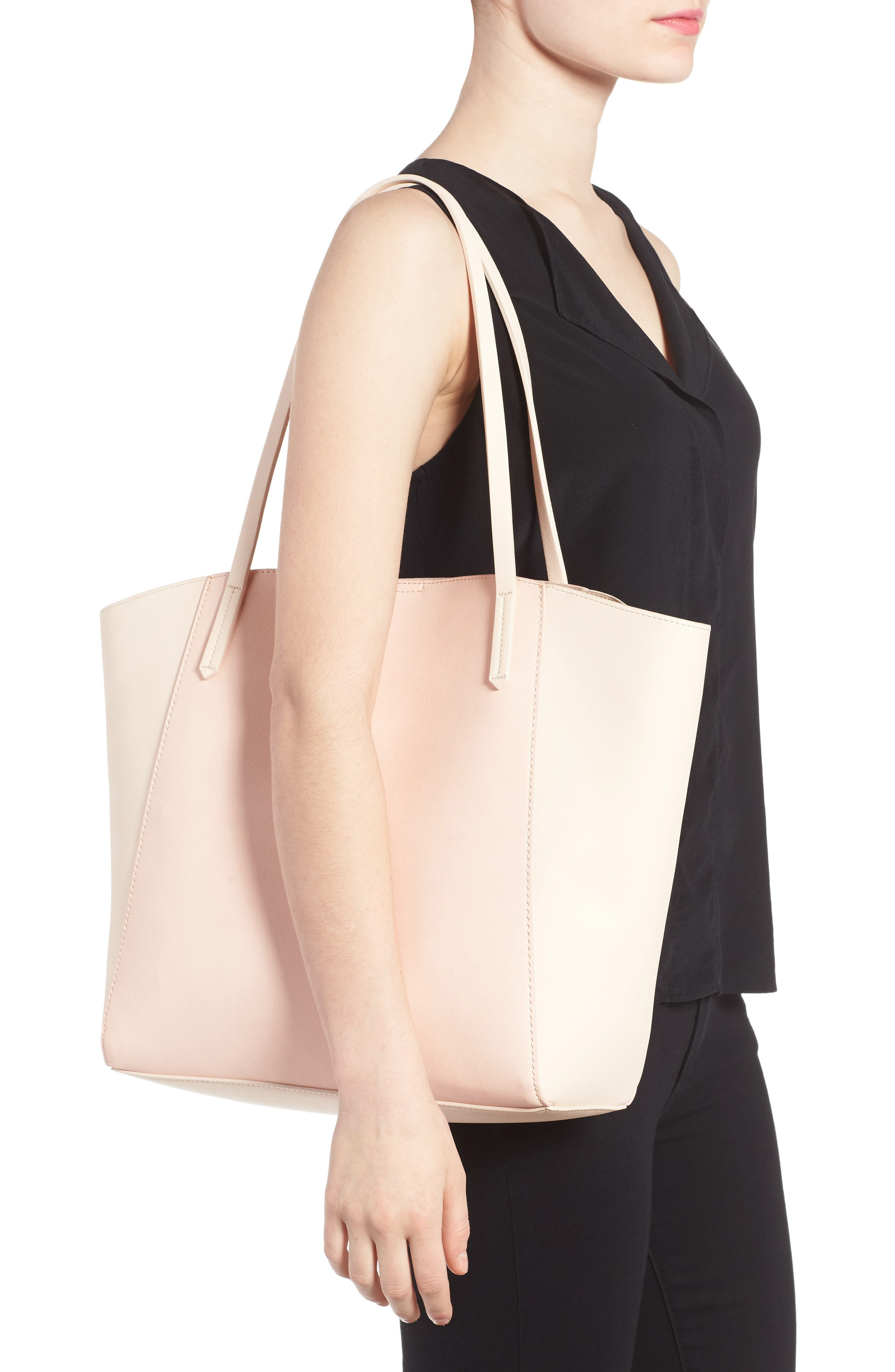 Colorblock Faux Leather Tote,                             Alternate thumbnail 13, color,