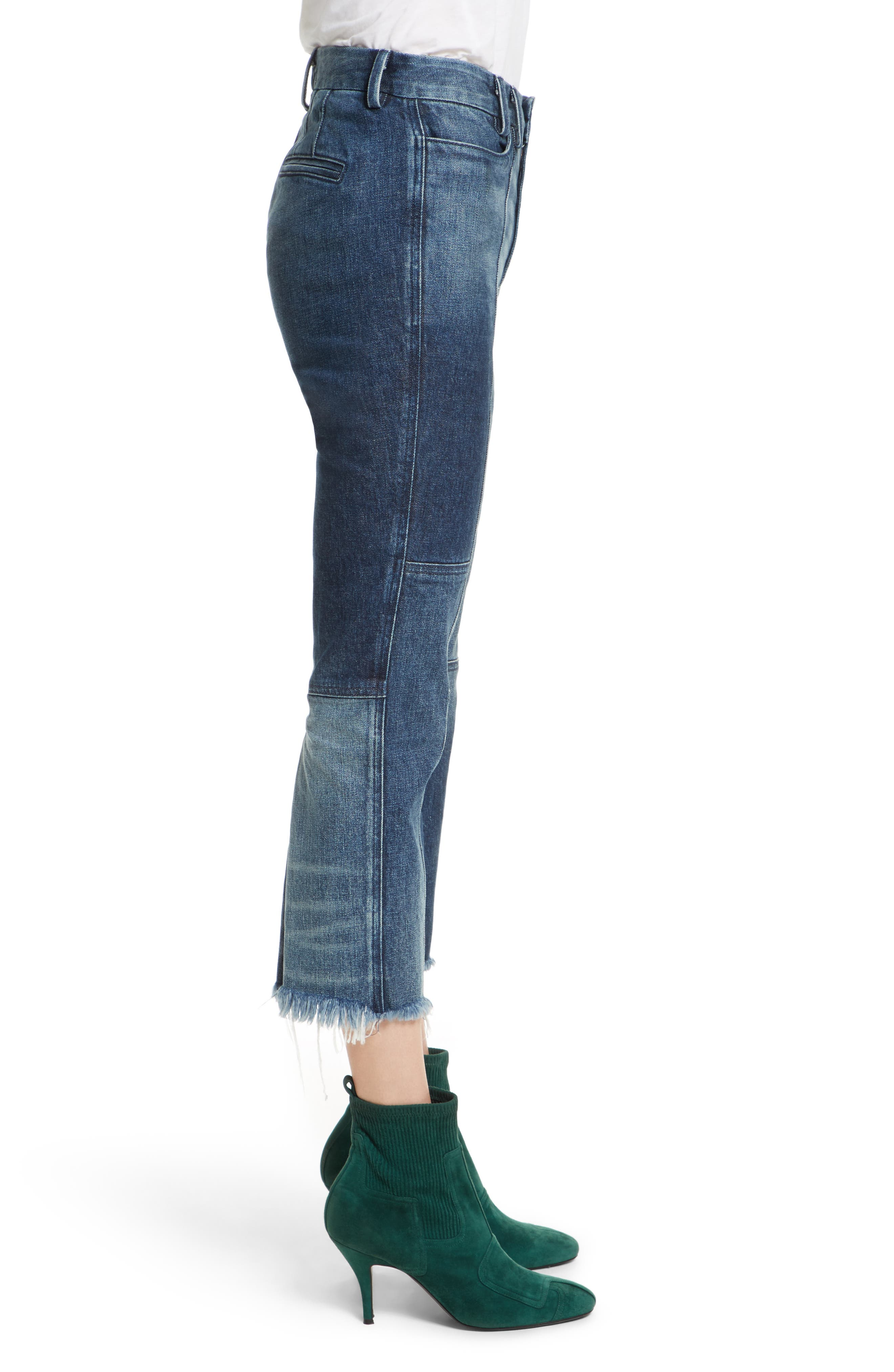 Frayed Seamed Crop Jeans,                             Alternate thumbnail 3, color,                             410
