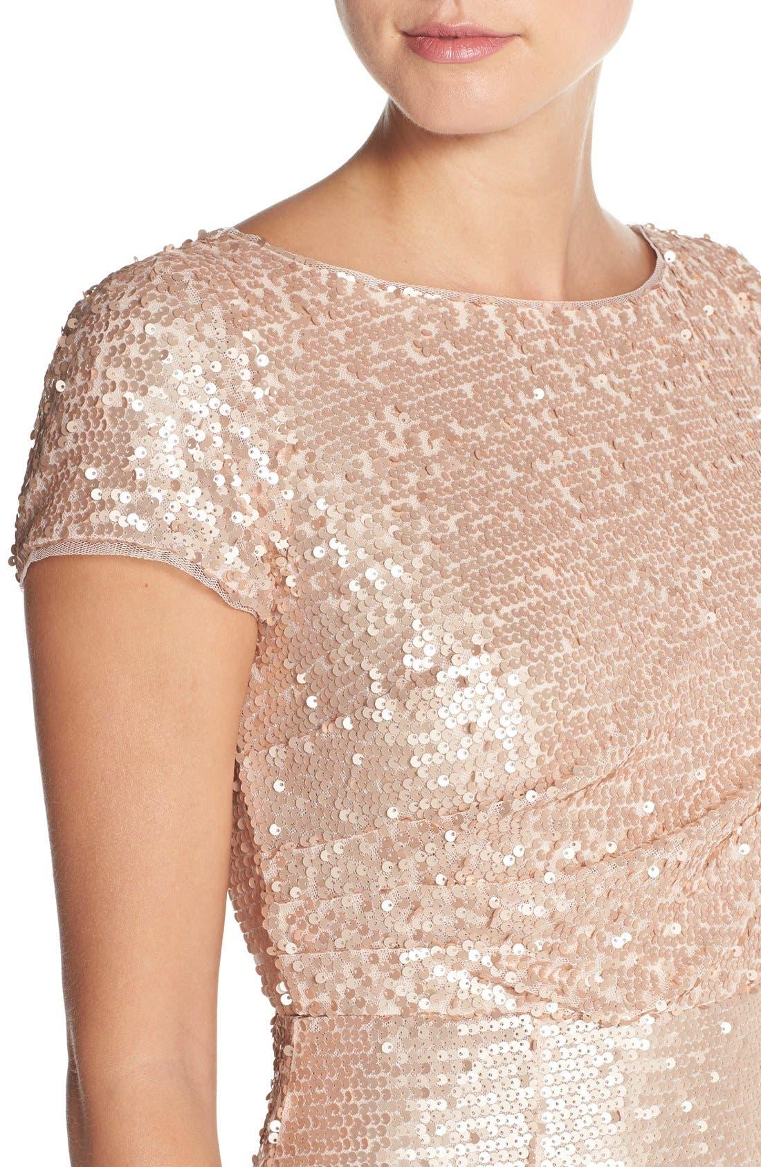 Sequin Mesh A-Line Gown,                             Alternate thumbnail 4, color,                             221