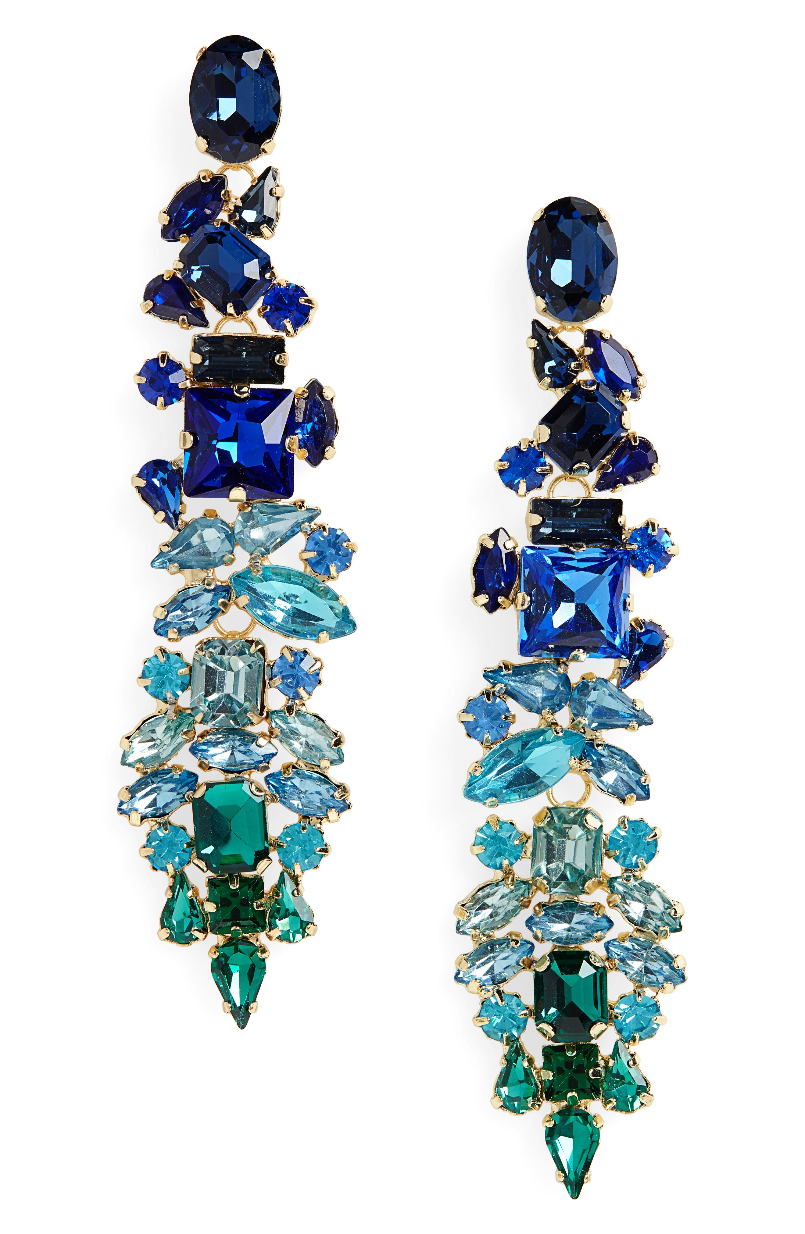 Dynasty Statement Earrings,                             Main thumbnail 1, color,                             GOLD/ BLUE