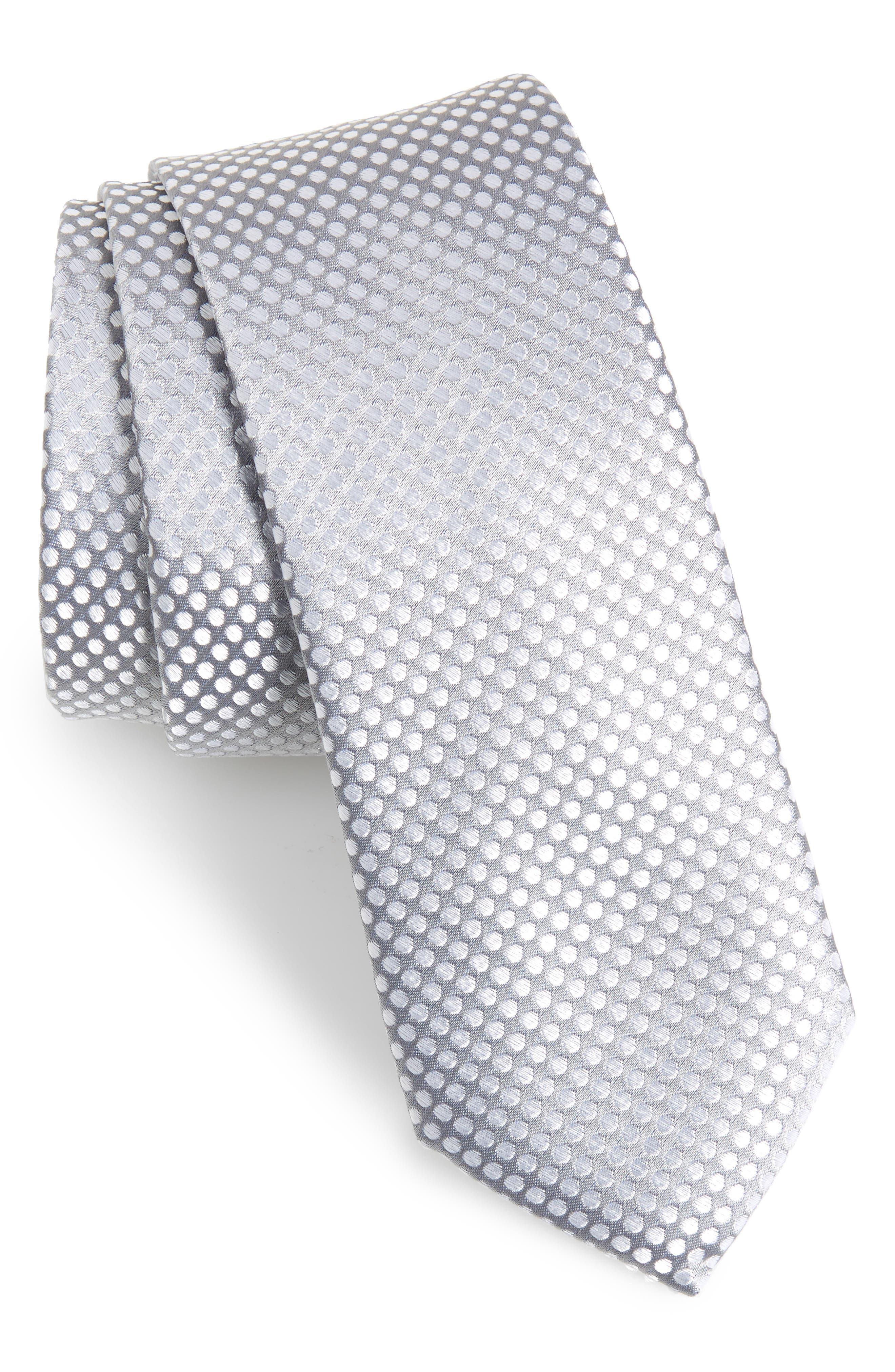 Dot Silk Tie,                             Main thumbnail 1, color,                             CHARCOAL