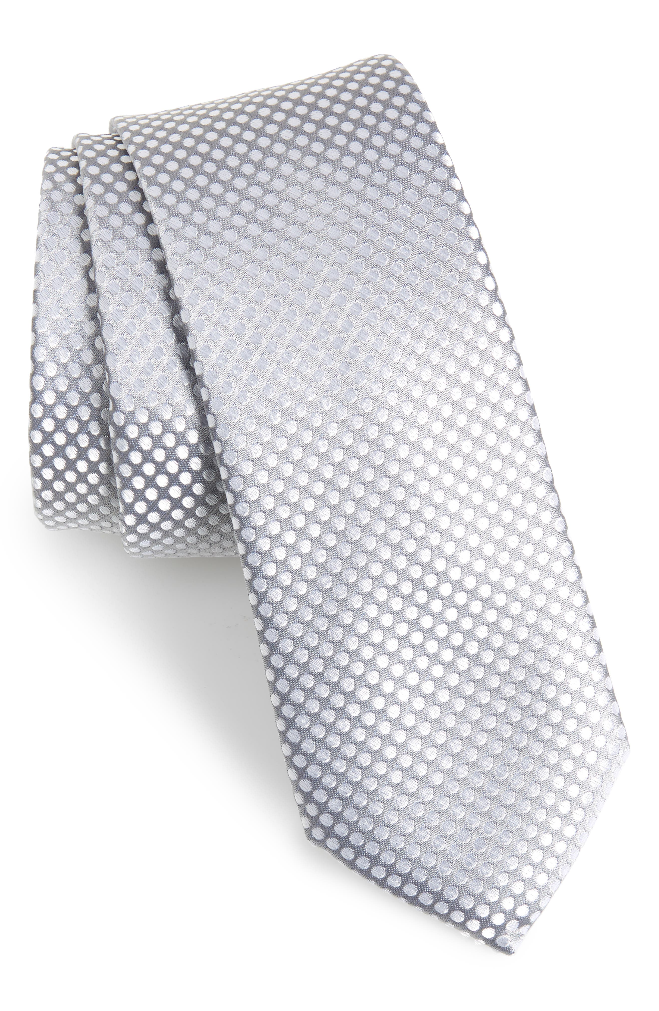 Dot Silk Tie,                         Main,                         color, CHARCOAL