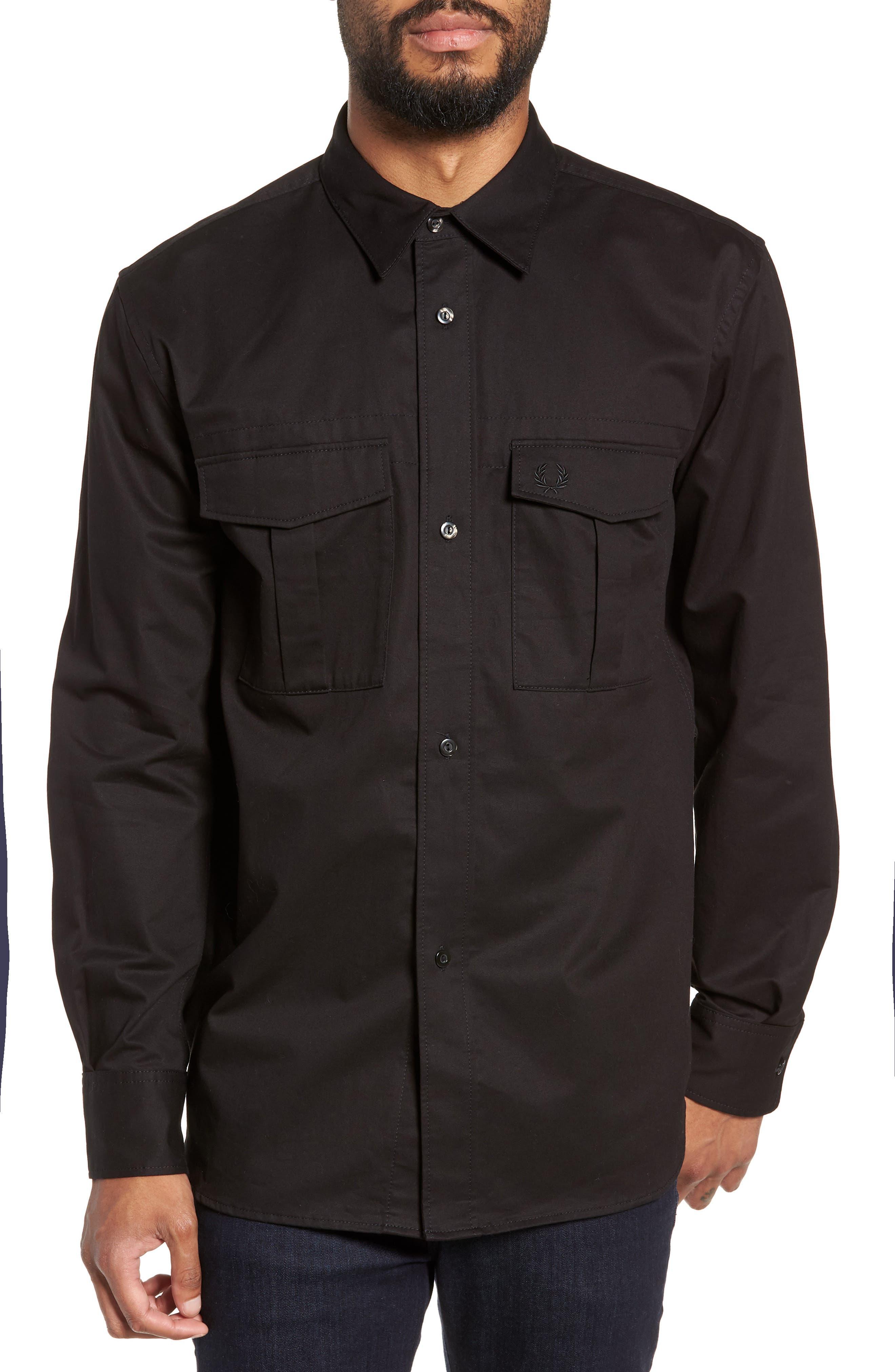 Utility Sport Shirt,                             Main thumbnail 1, color,                             BLACK