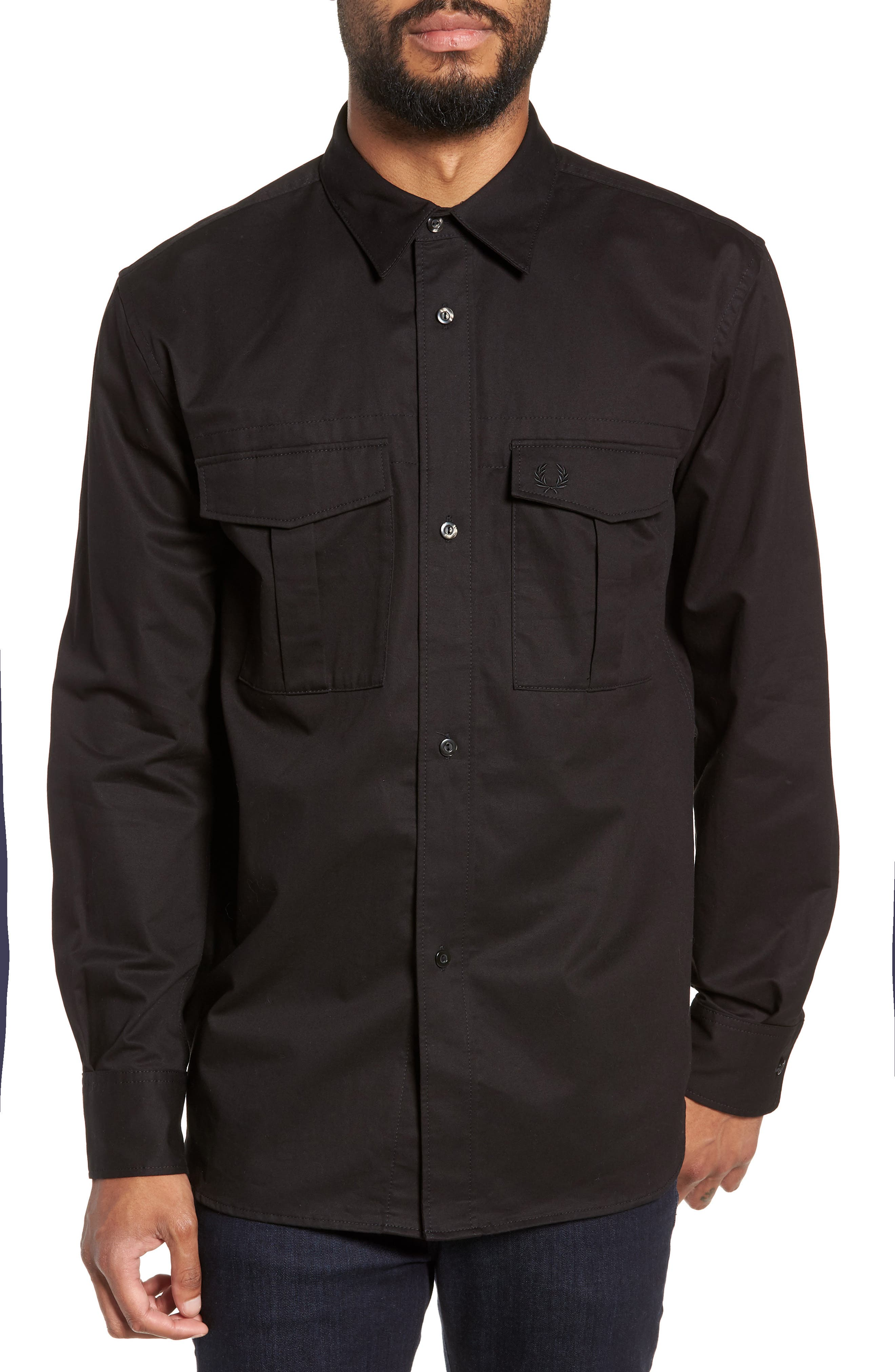 Utility Sport Shirt,                         Main,                         color, BLACK