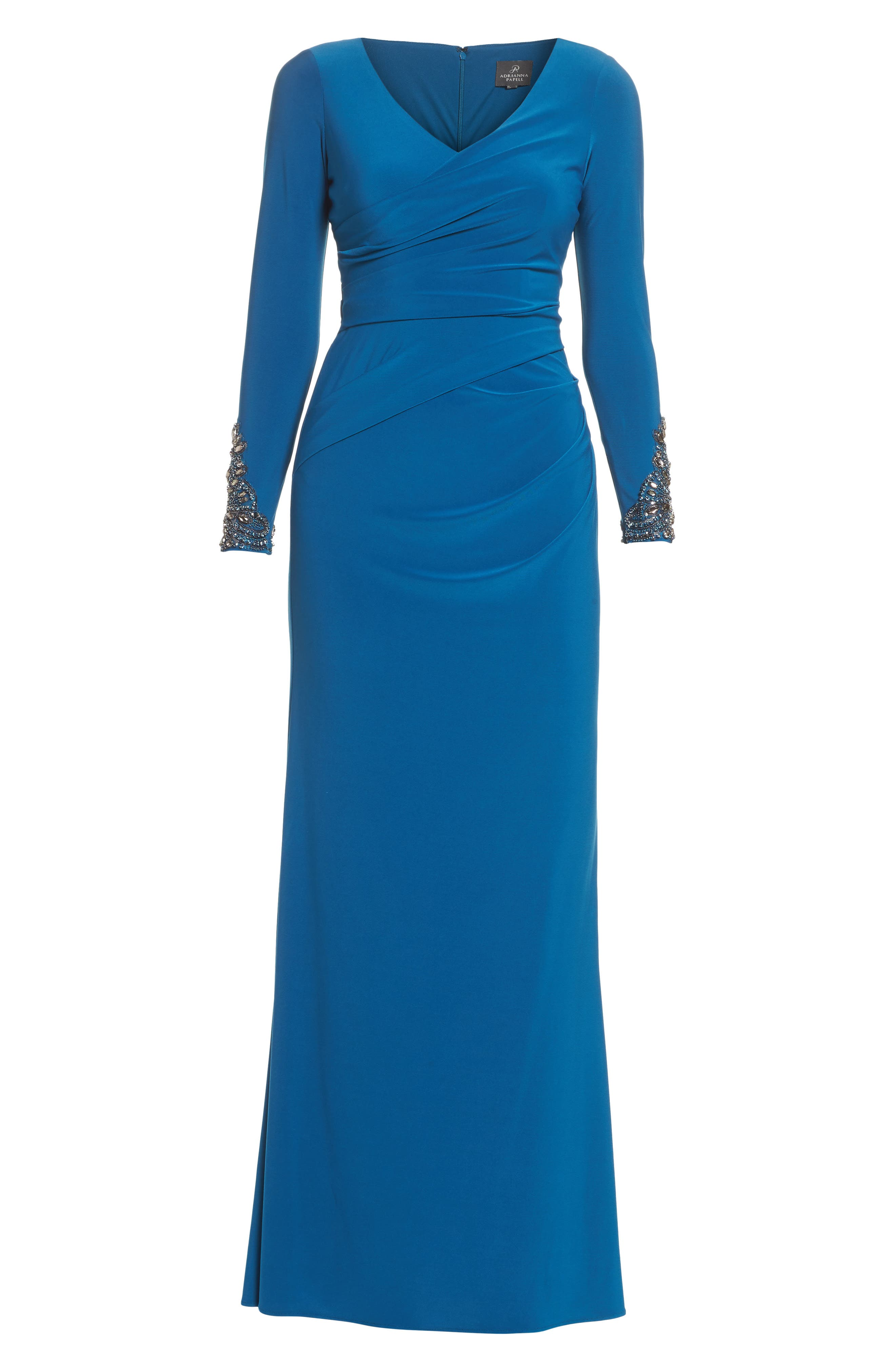 Embellished Sleeve Drape Gown,                             Alternate thumbnail 6, color,                             471