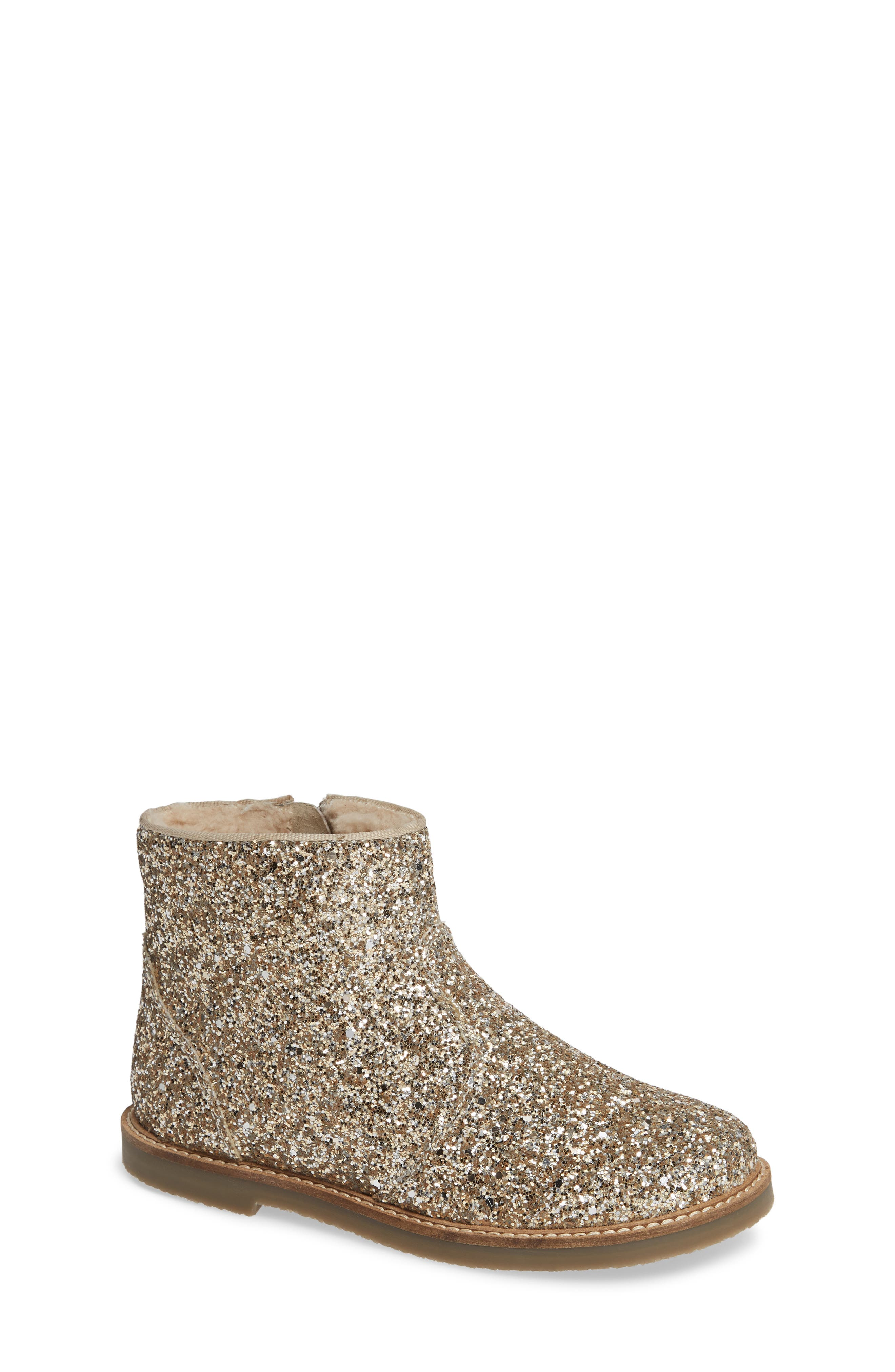 Glitter Booties,                         Main,                         color, SILVER/ GOLD