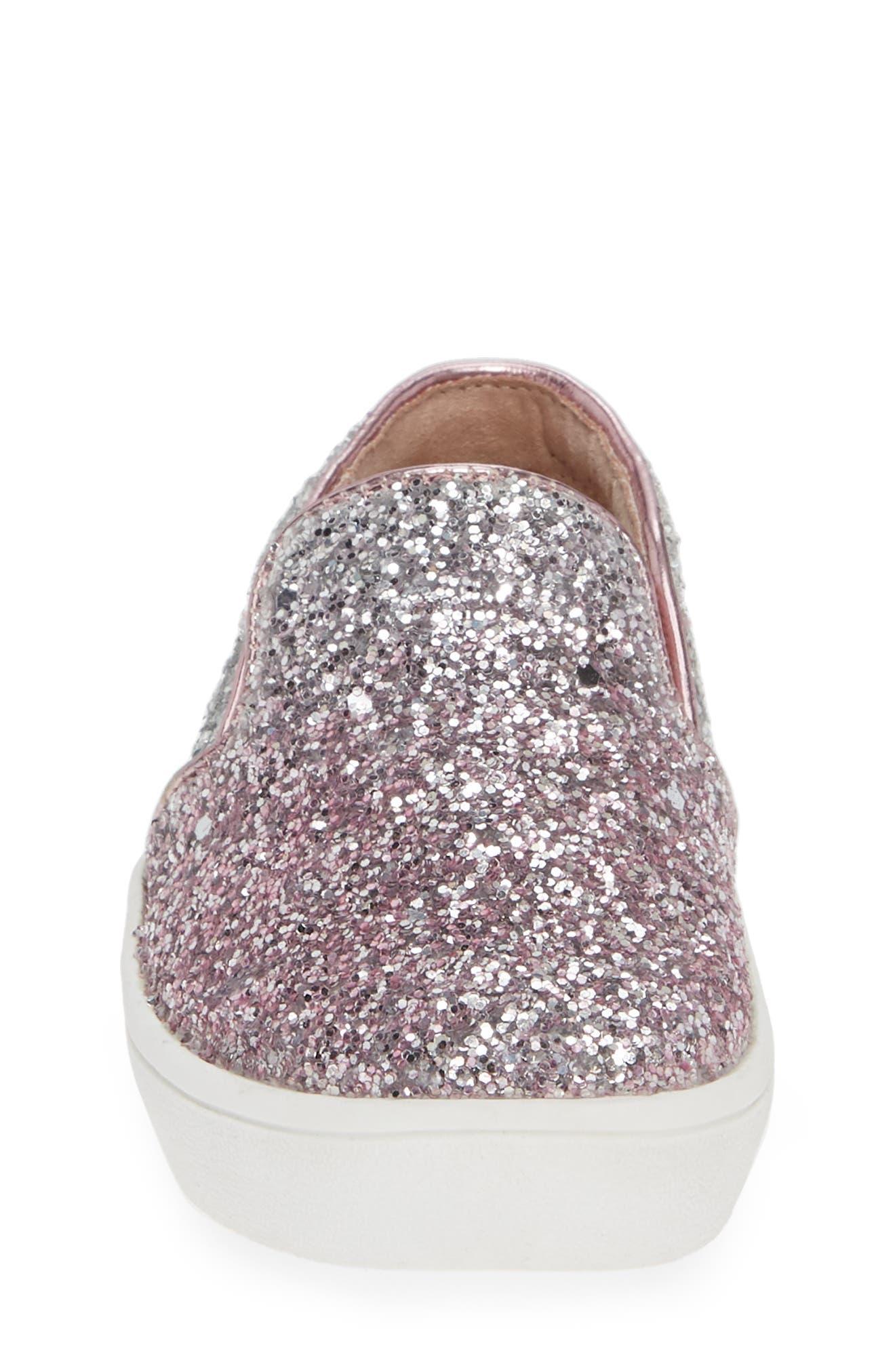 Ivy Ombré Glitter Slip-On Sneaker,                             Alternate thumbnail 4, color,                             PINK SILVER