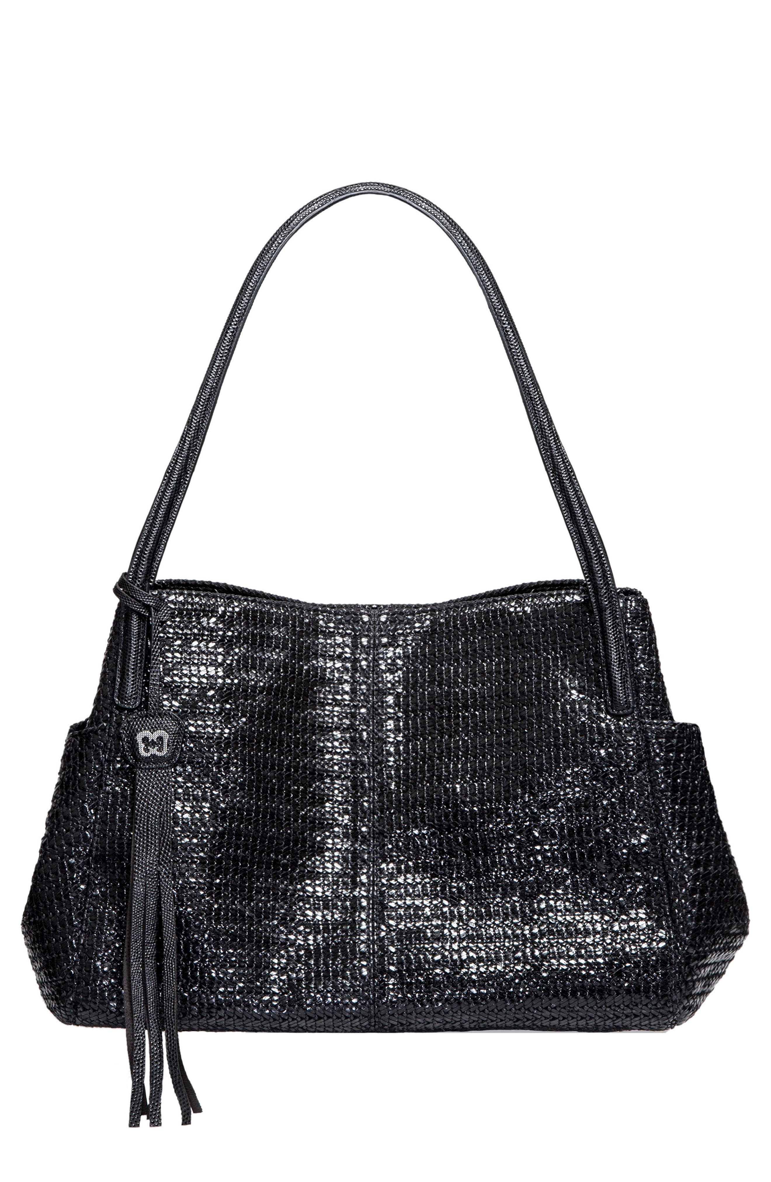 ERIC JAVITS 'Aura' Woven Shopper, Main, color, BLACK