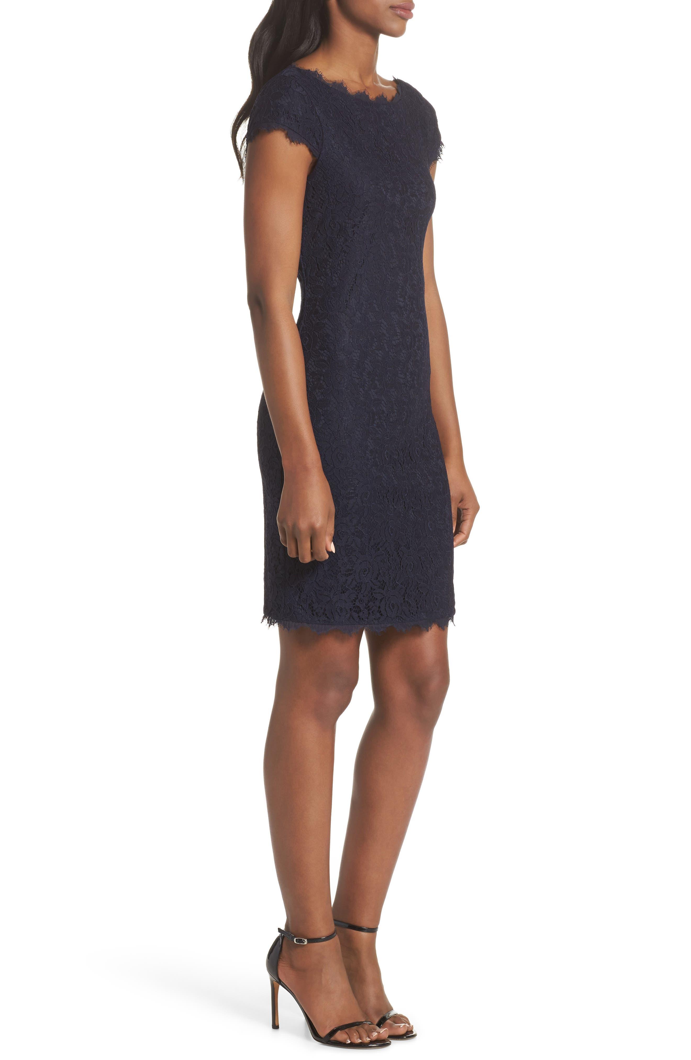 Cap Sleeve Lace Sheath Dress,                             Alternate thumbnail 3, color,                             NAVY