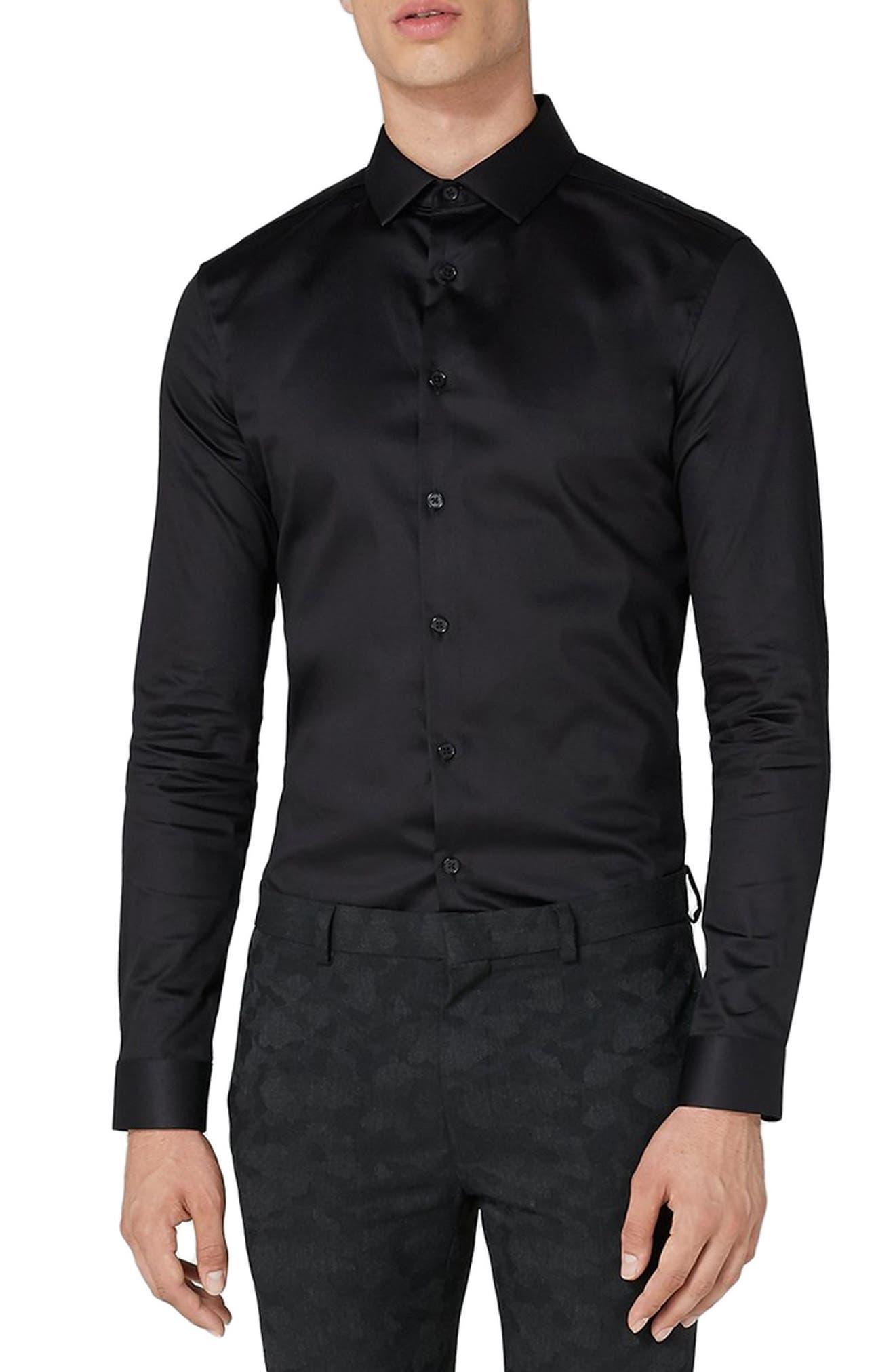 Muscle Fit Satin Shirt,                         Main,                         color, BLACK