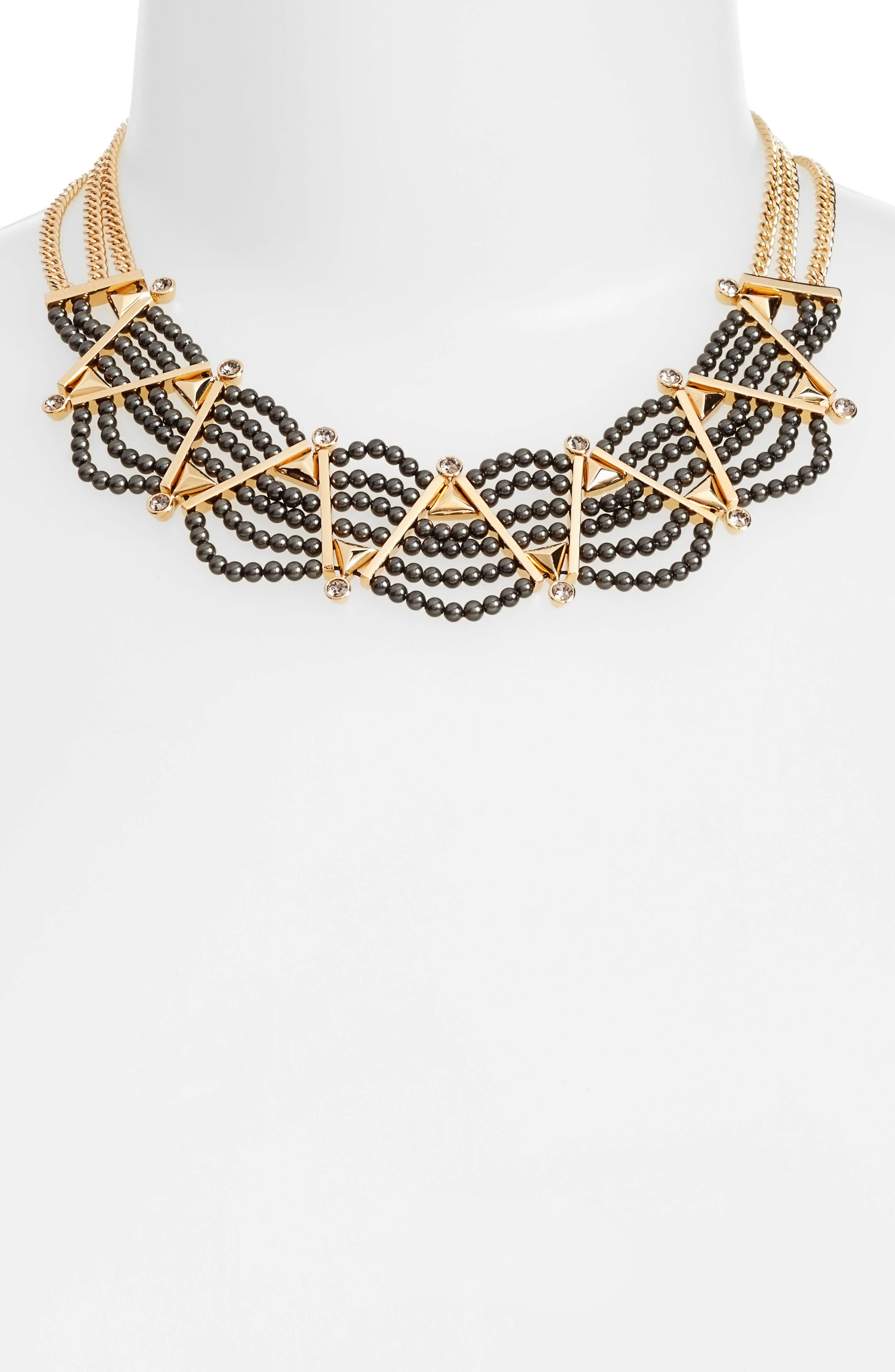 Imitation Pearl Frontal Necklace,                             Alternate thumbnail 2, color,                             001