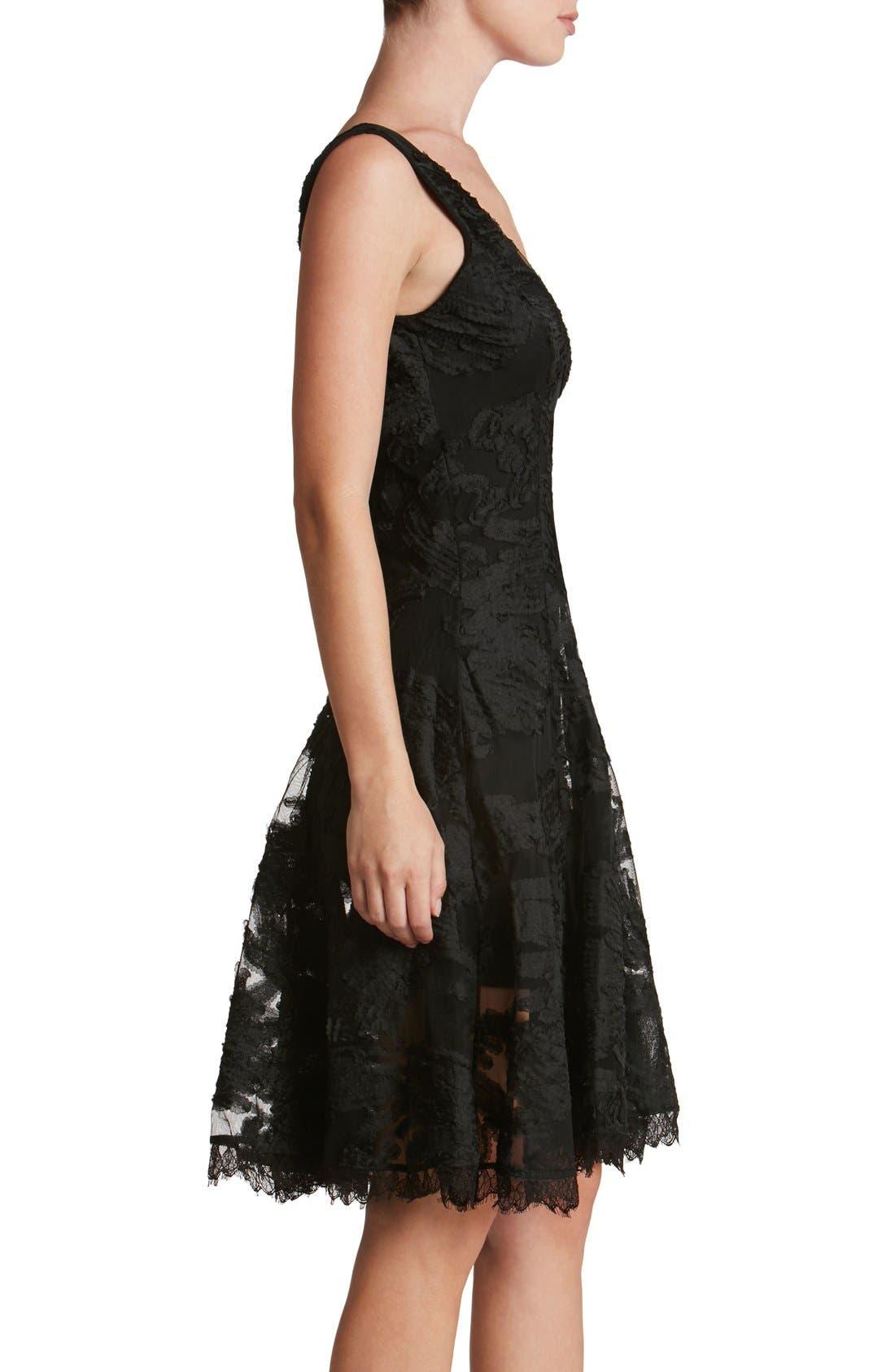 Maya Woven Fit & Flare Dress,                             Alternate thumbnail 5, color,                             001