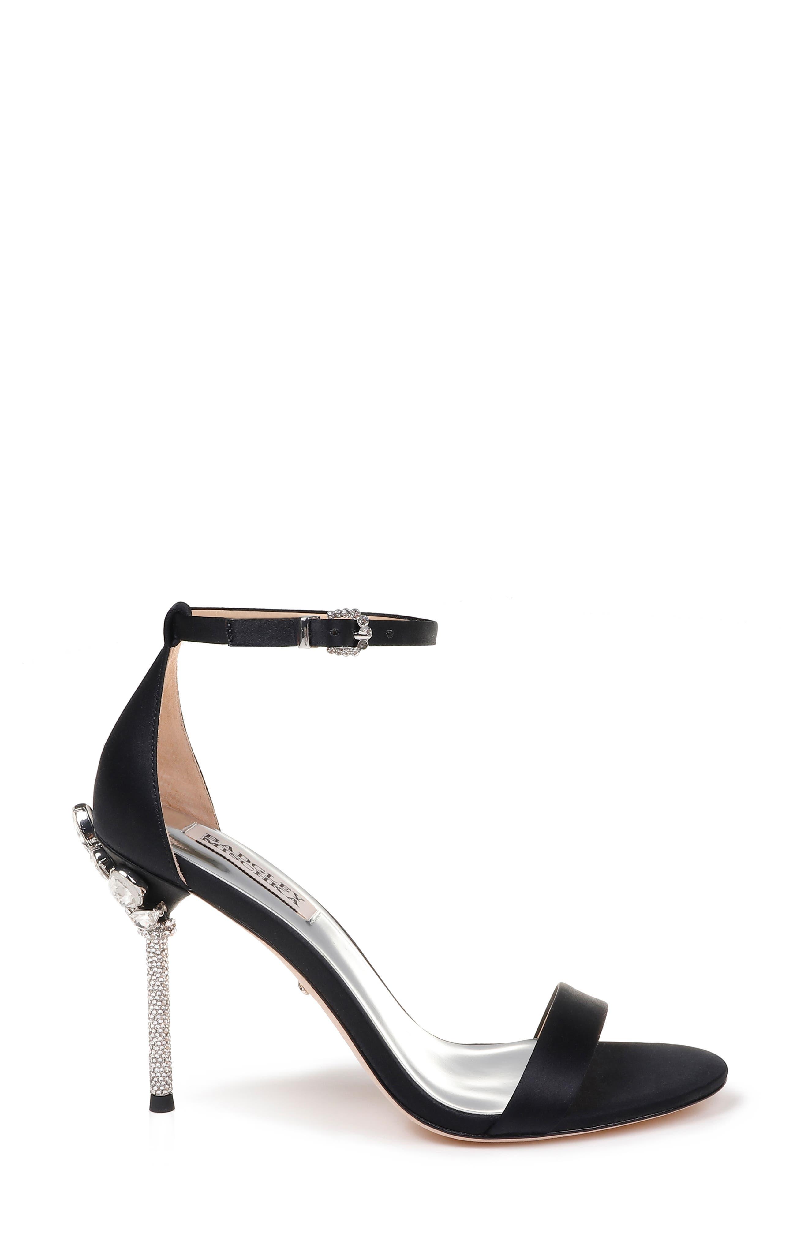 Vicia Crystal Embellished Heel Sandal,                             Alternate thumbnail 3, color,                             BLACK SATIN
