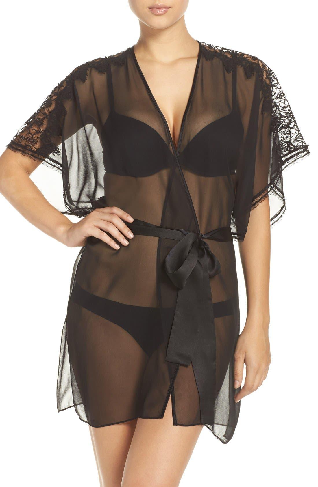 Silk Chiffon Robe,                         Main,                         color, 001