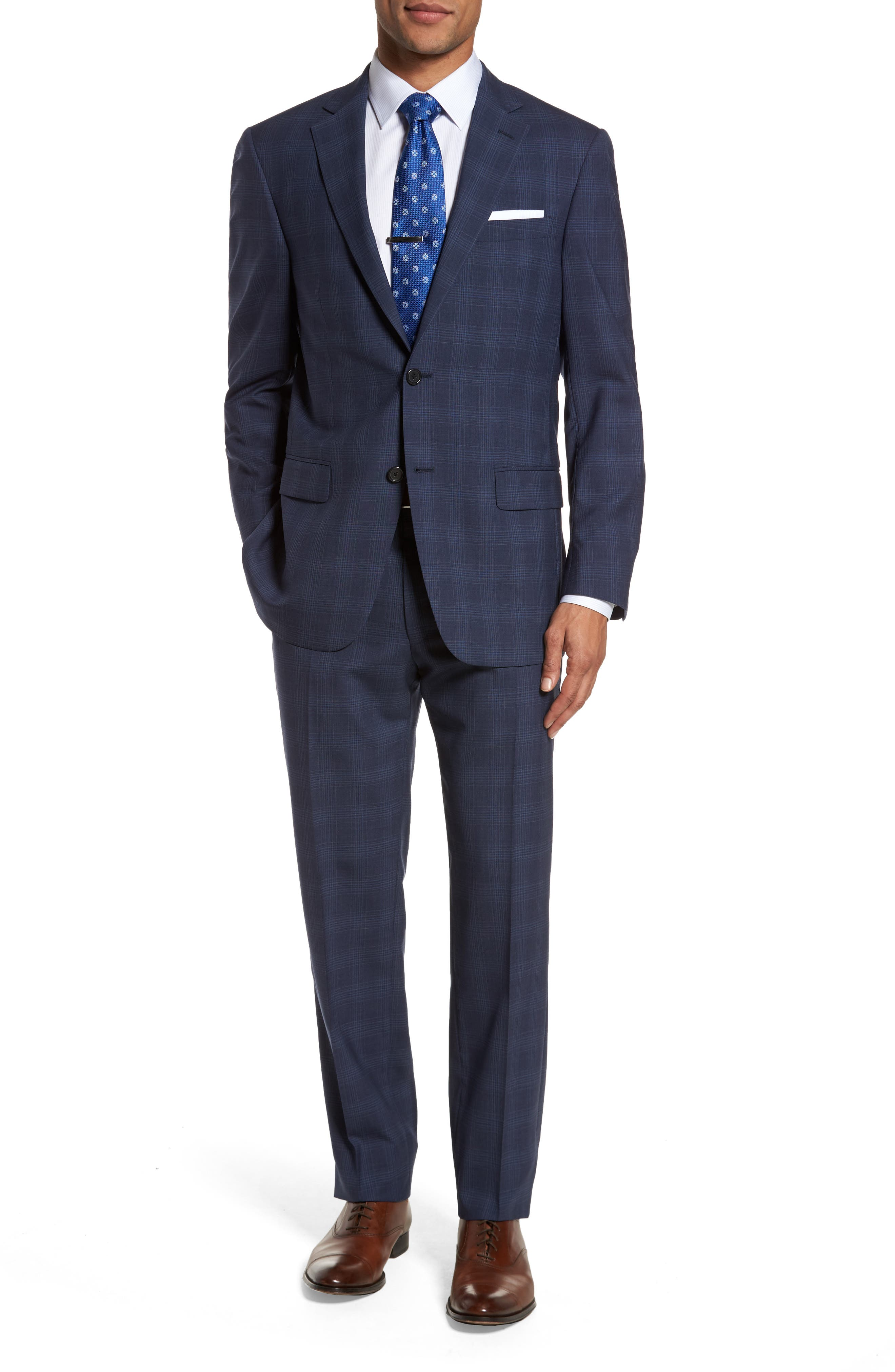 Classic Fit Plaid Wool Suit,                         Main,                         color, 410
