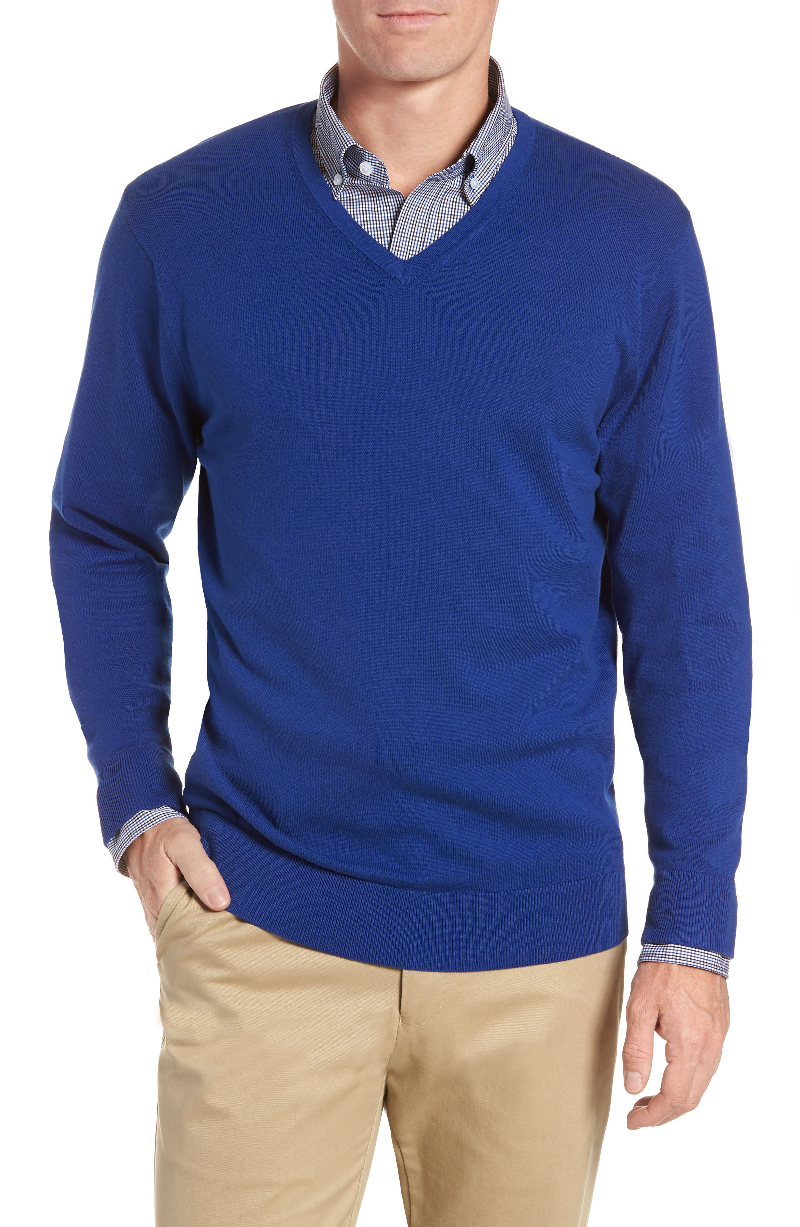 Cutter & Buck Lakemont V-Neck Sweater, Blue