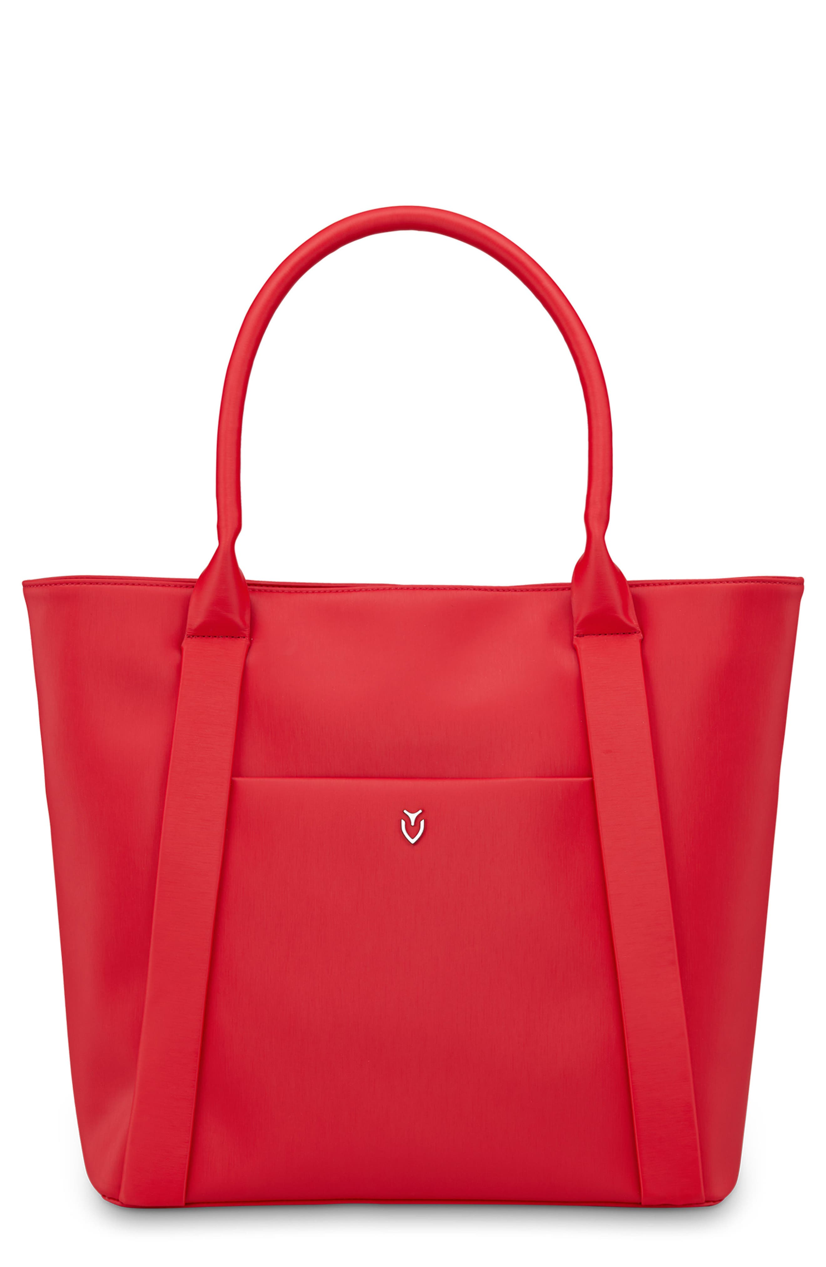 Signature 2.0 Large Faux Leather Tote Bag,                             Main thumbnail 1, color,                             PEBBLED RED