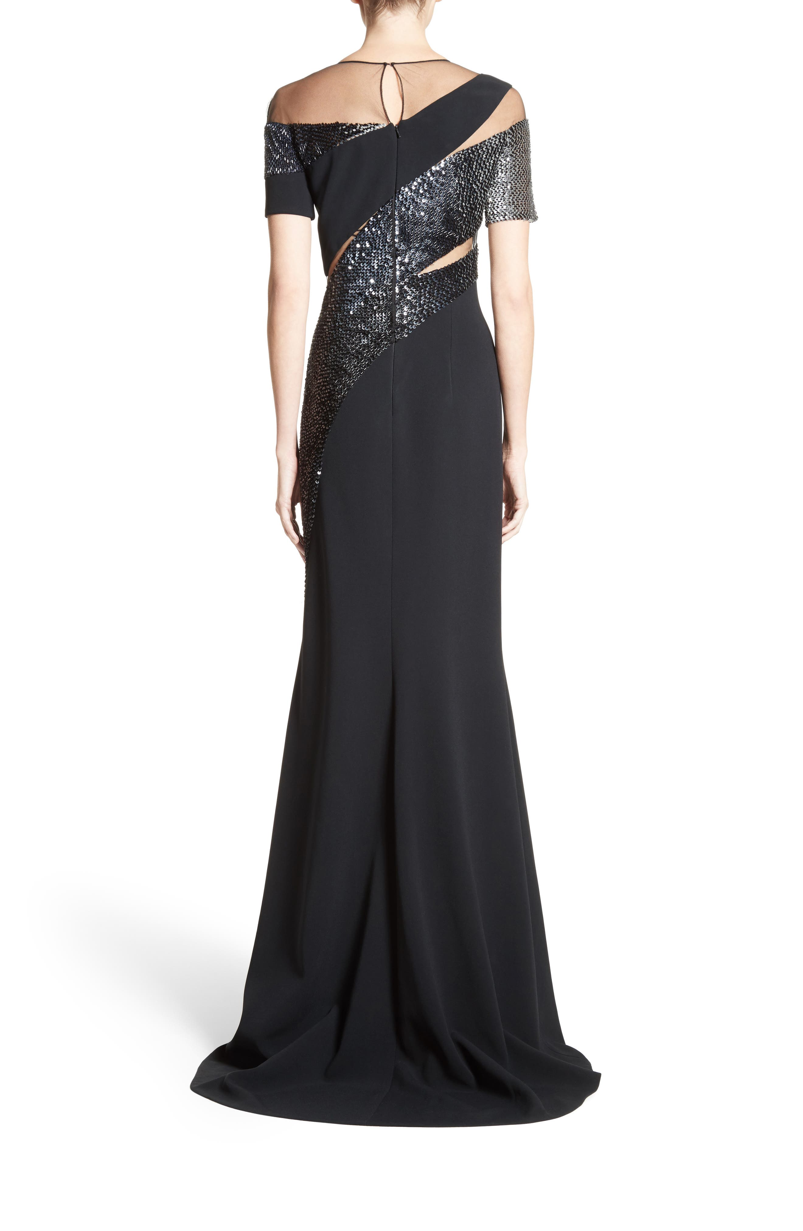Sequined Silk Gown,                             Alternate thumbnail 2, color,                             001