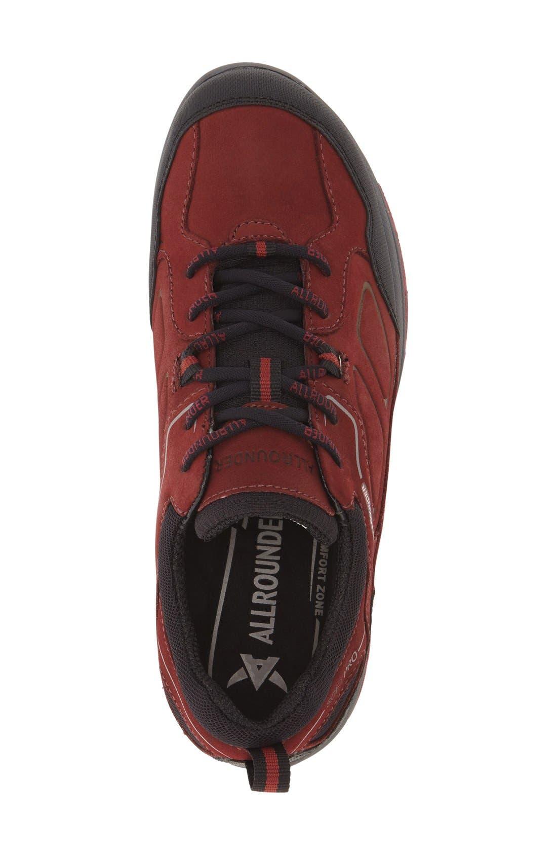 'Dascha Tex' Waterproof Sneaker,                             Alternate thumbnail 3, color,                             BLACK/ RED NUBUCK LEATHER