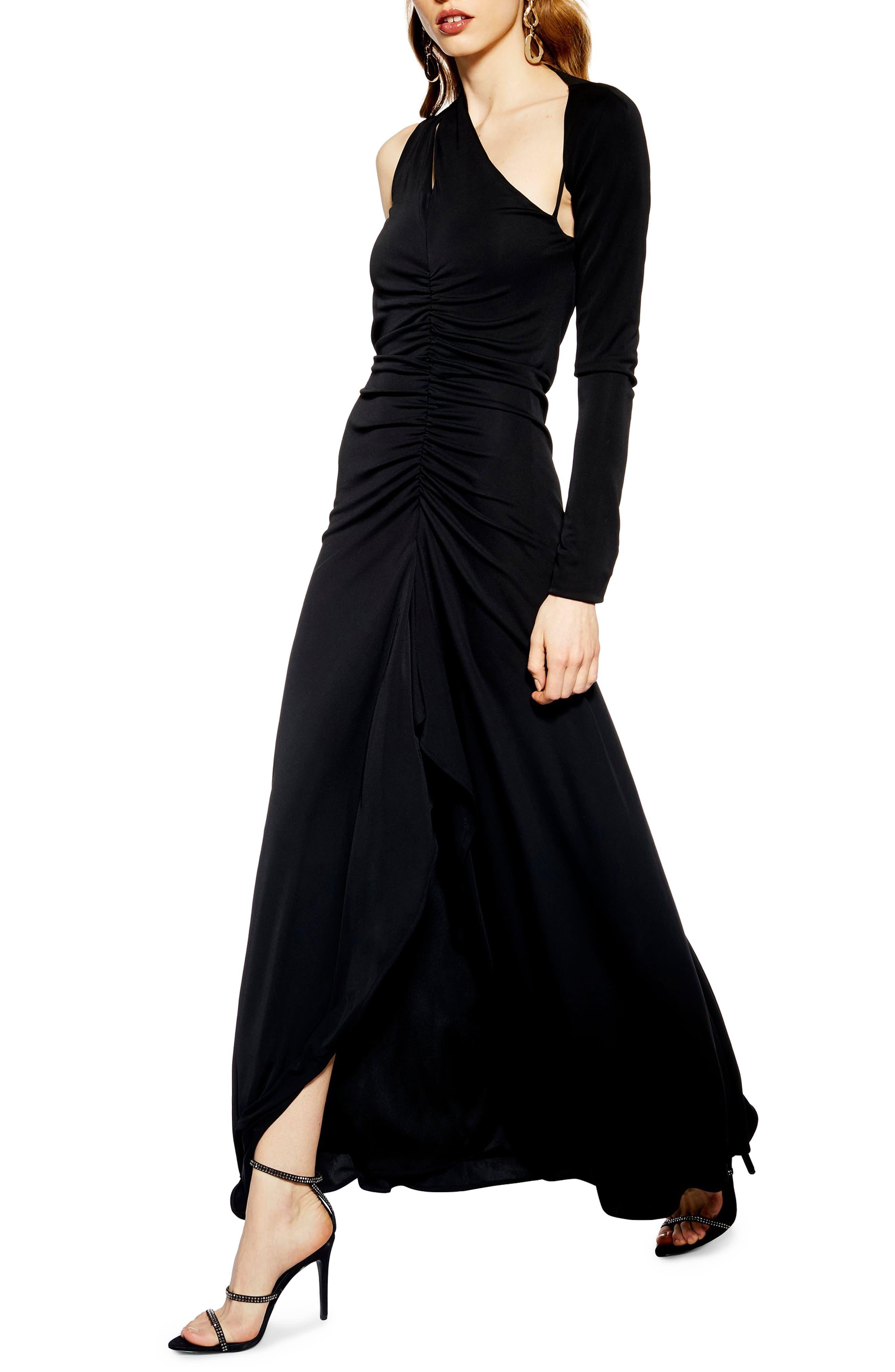 Topshop One-Shoulder Maxi Dress, US (fits like 16-18) - Black