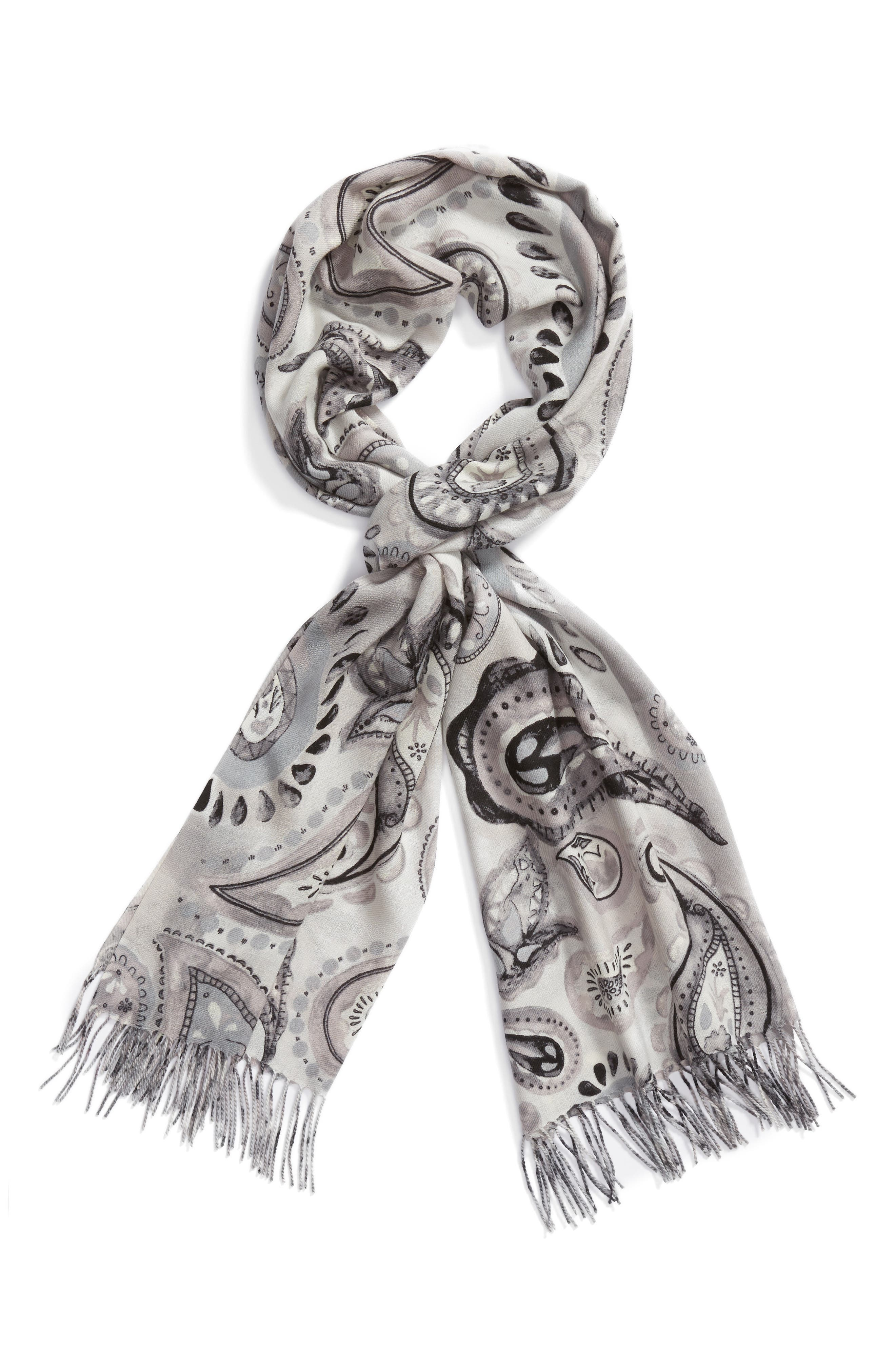 Tissue Print Wool & Cashmere Wrap Scarf,                             Alternate thumbnail 37, color,