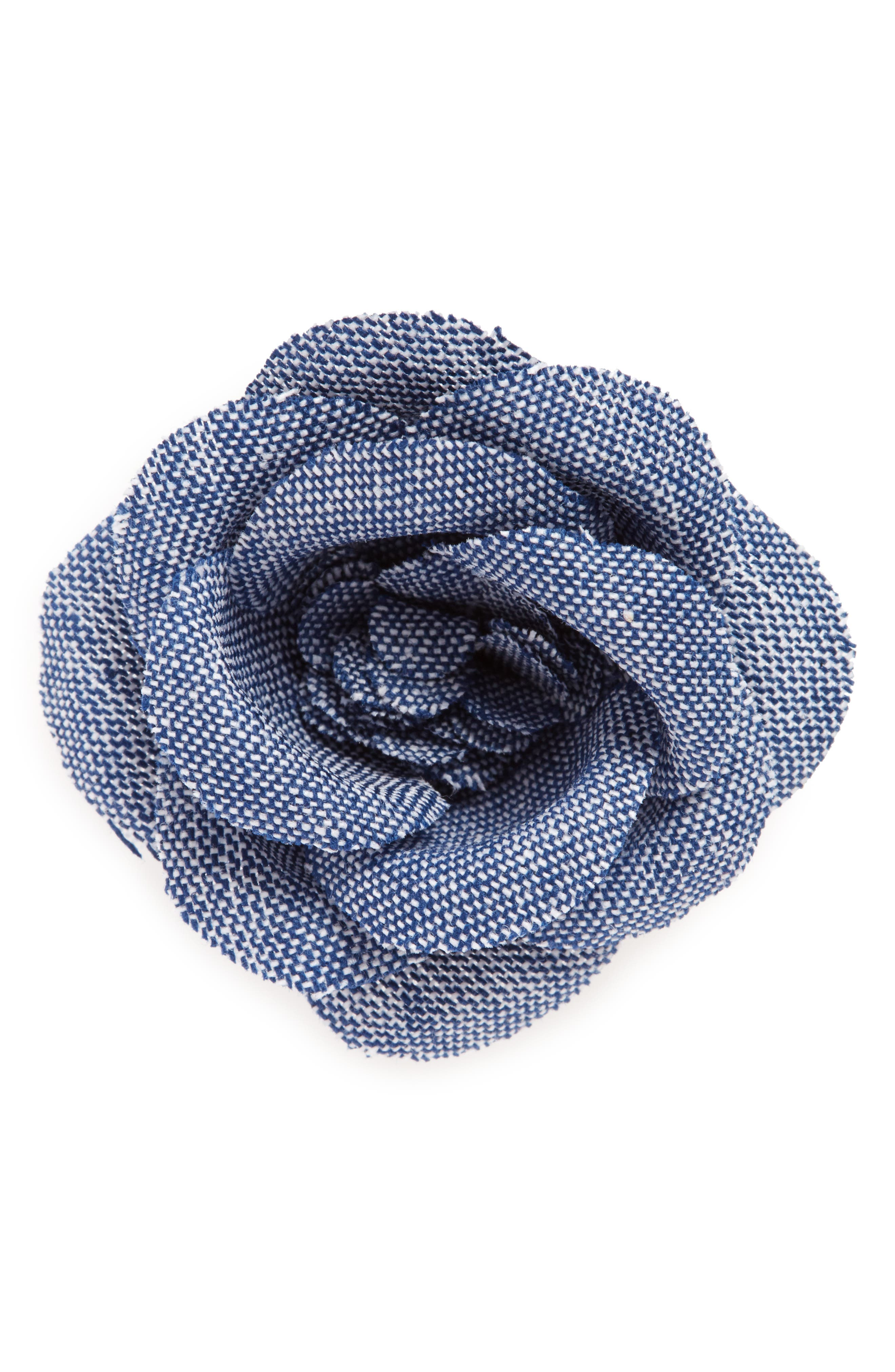 Chambray Lapel Flower,                         Main,                         color, 400