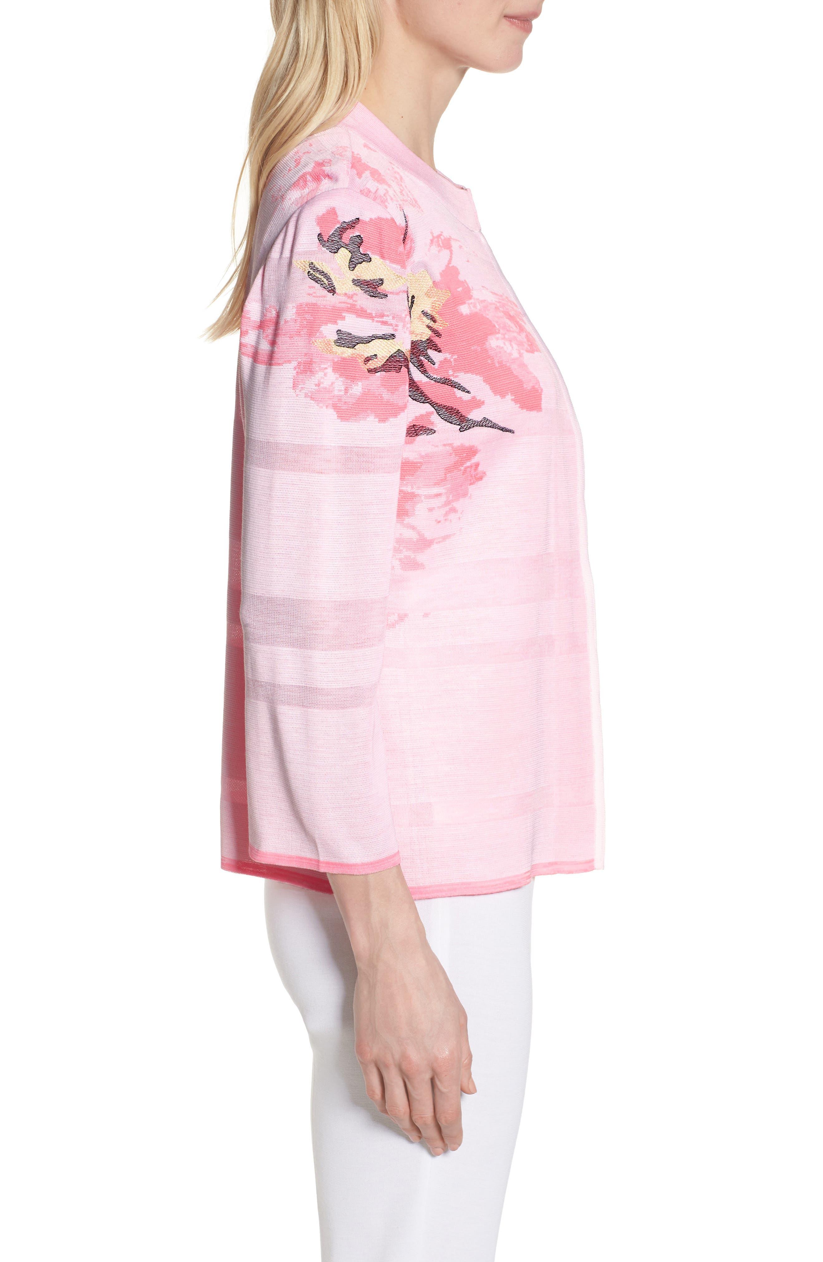 Floral Knit Jacket,                             Alternate thumbnail 3, color,                             MULTI