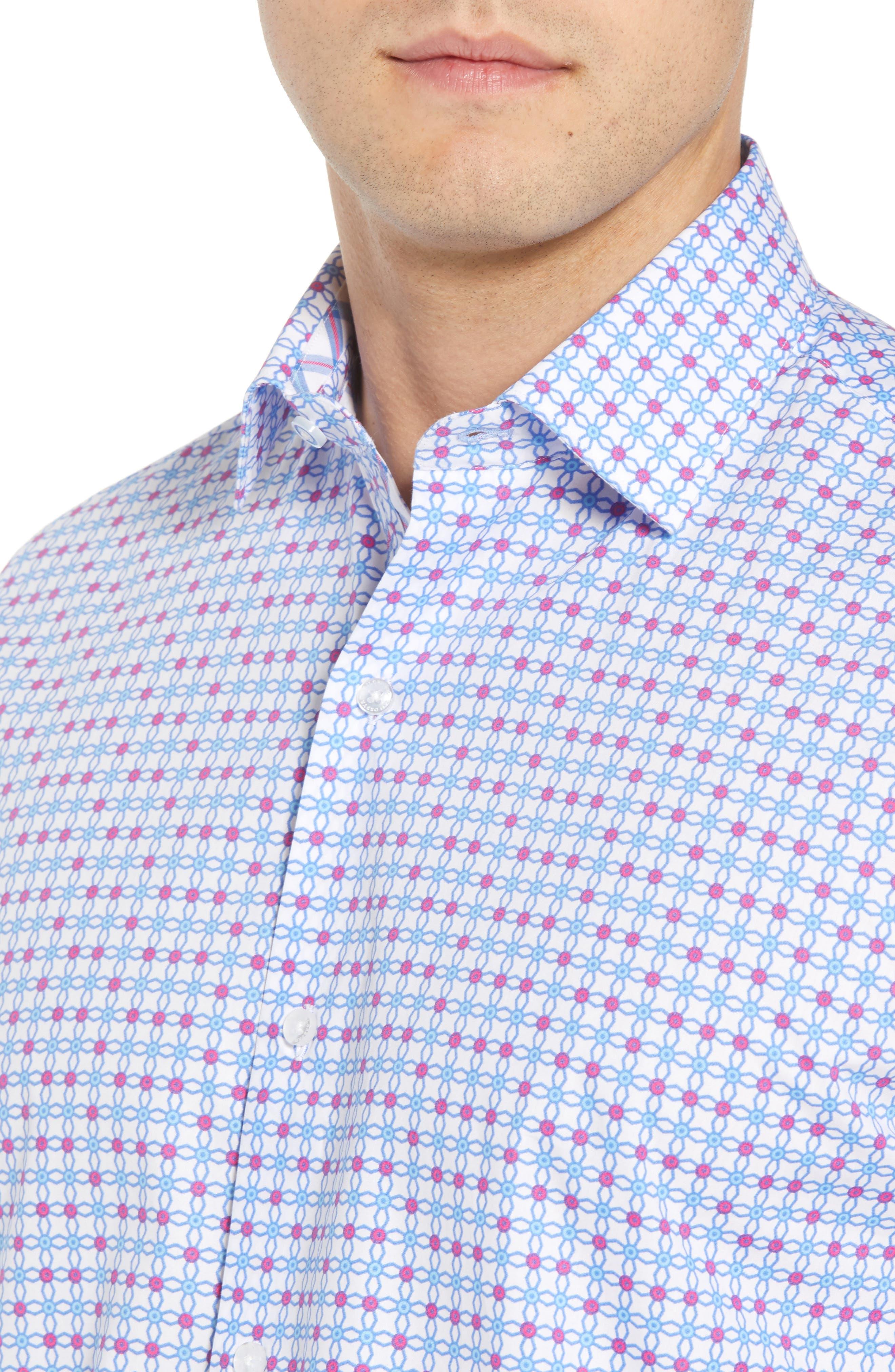 Andres Regular Fit Geo Print Sport Shirt,                             Alternate thumbnail 4, color,                             465