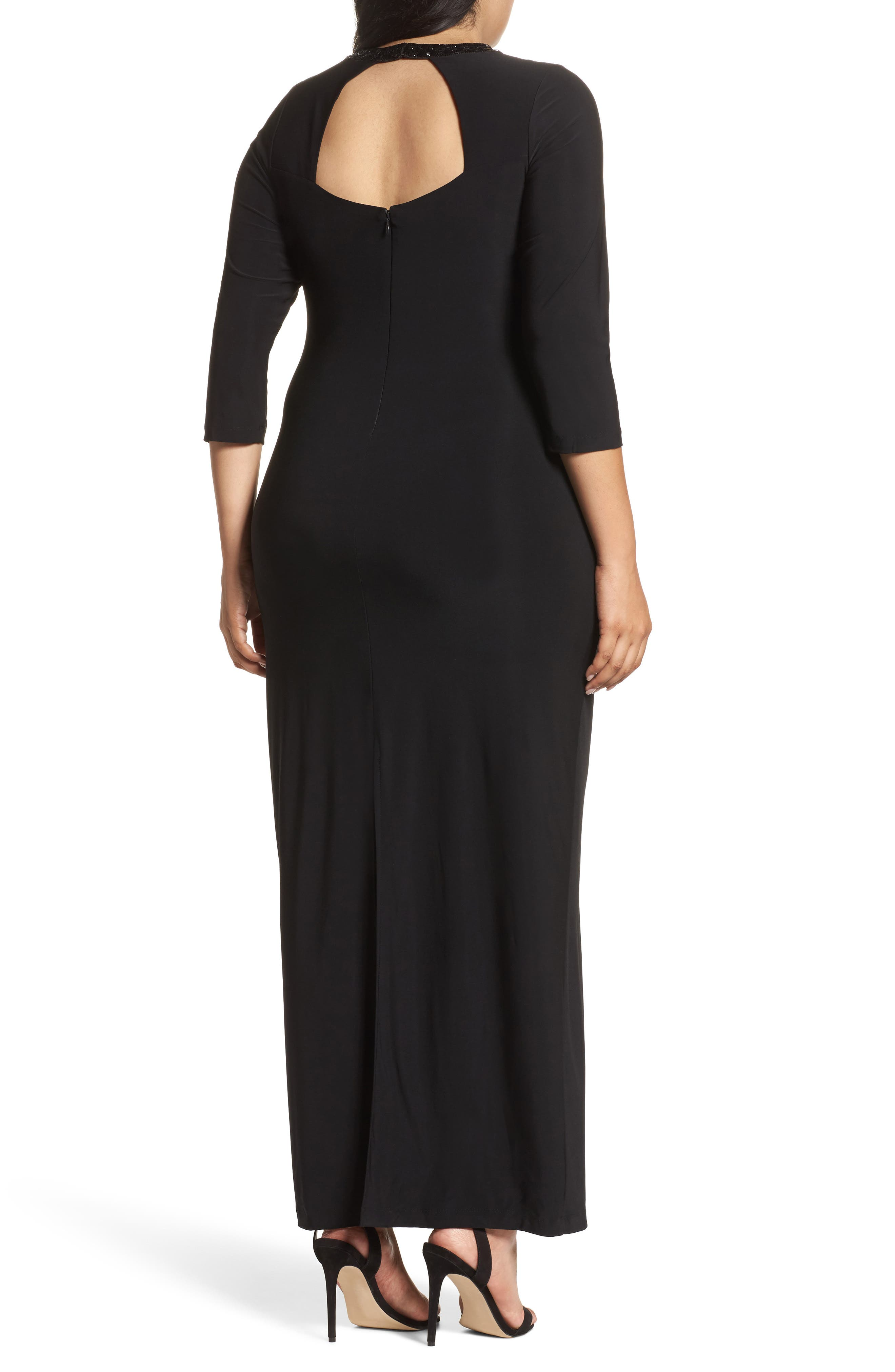 Embellished Neck Matte Jersey Gown,                             Alternate thumbnail 2, color,                             001