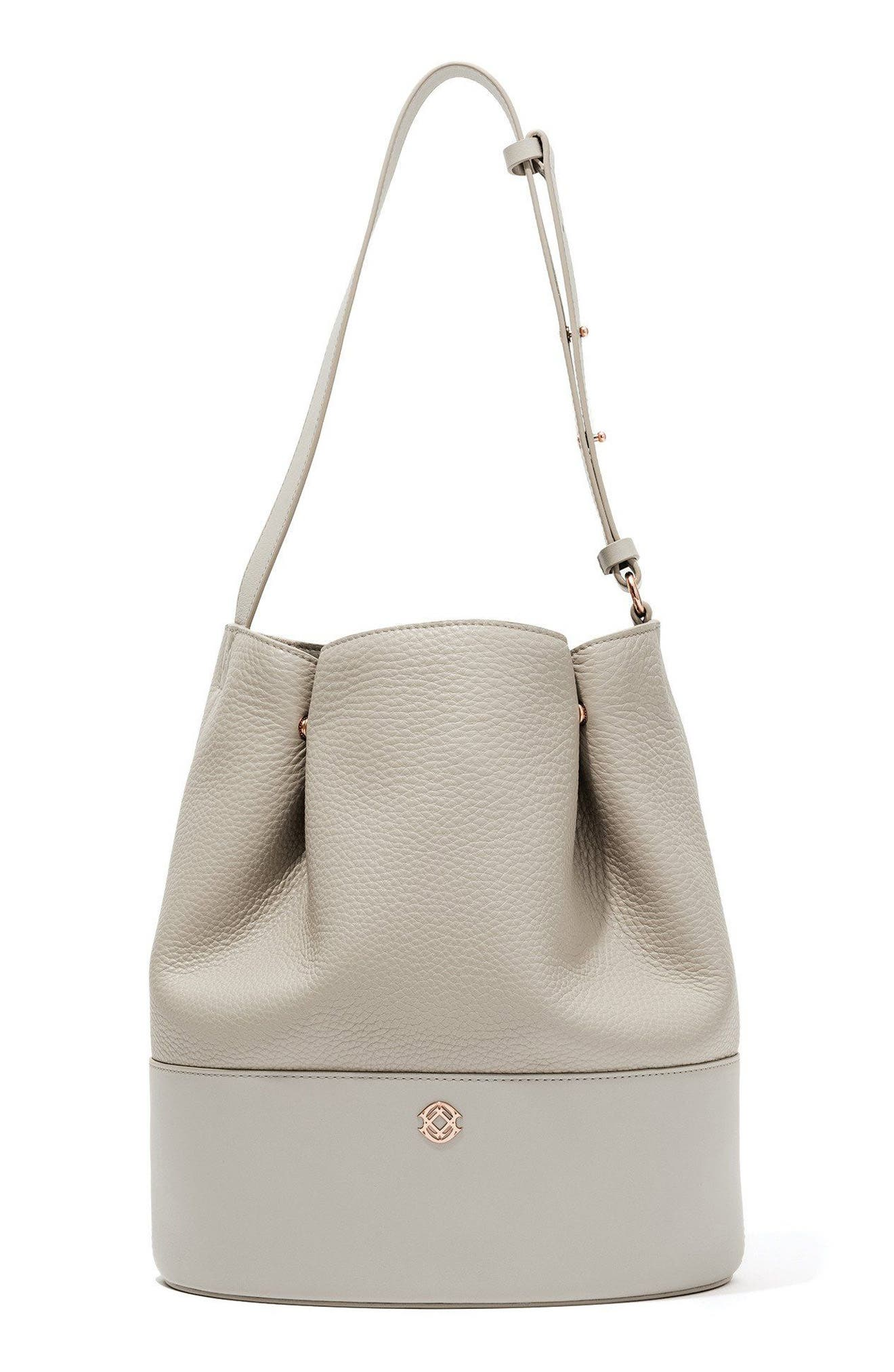 Ava Leather Bucket Bag,                             Main thumbnail 1, color,                             BONE