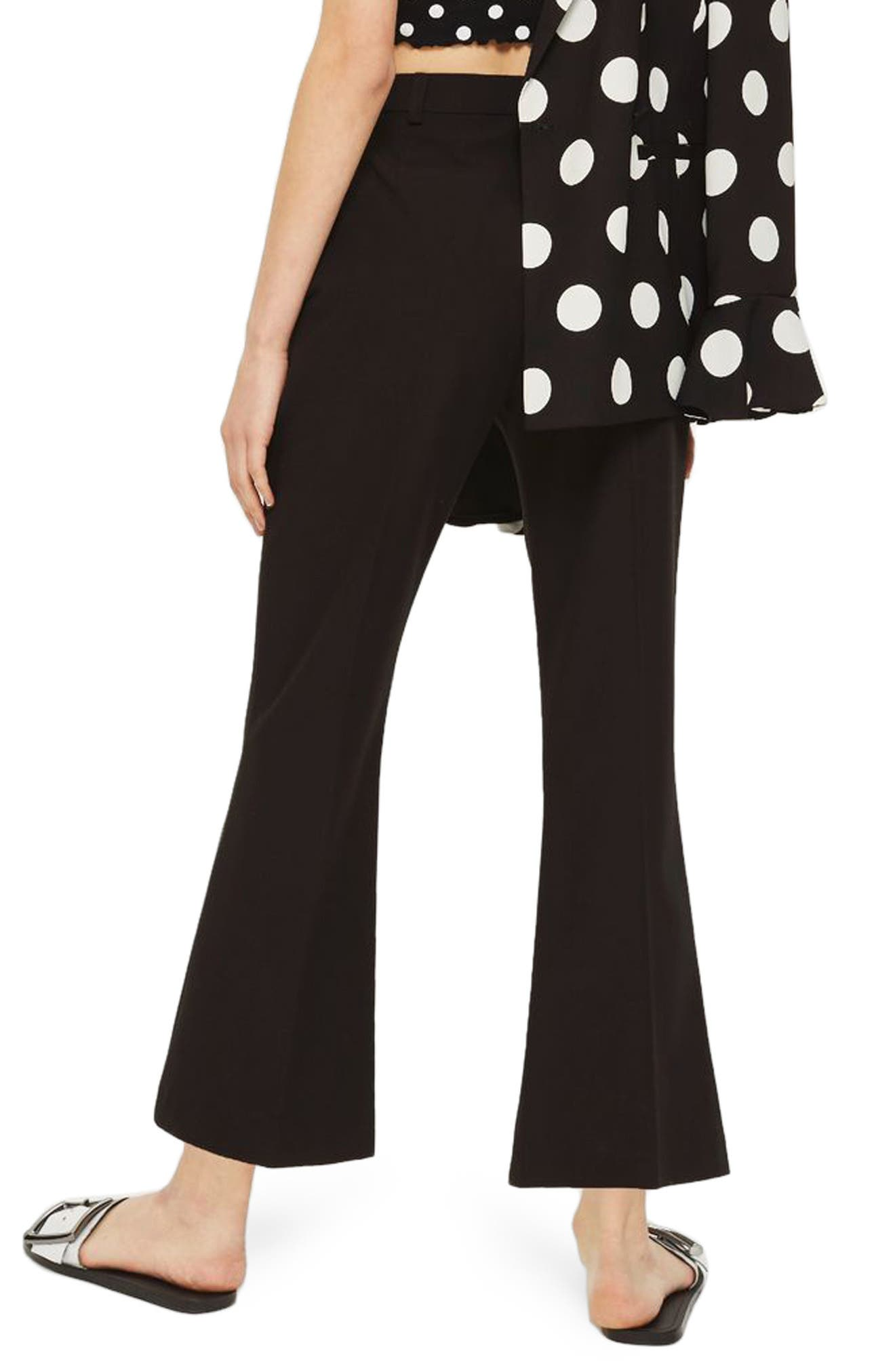 Slim Kick Flare Trousers,                             Alternate thumbnail 2, color,                             BLACK