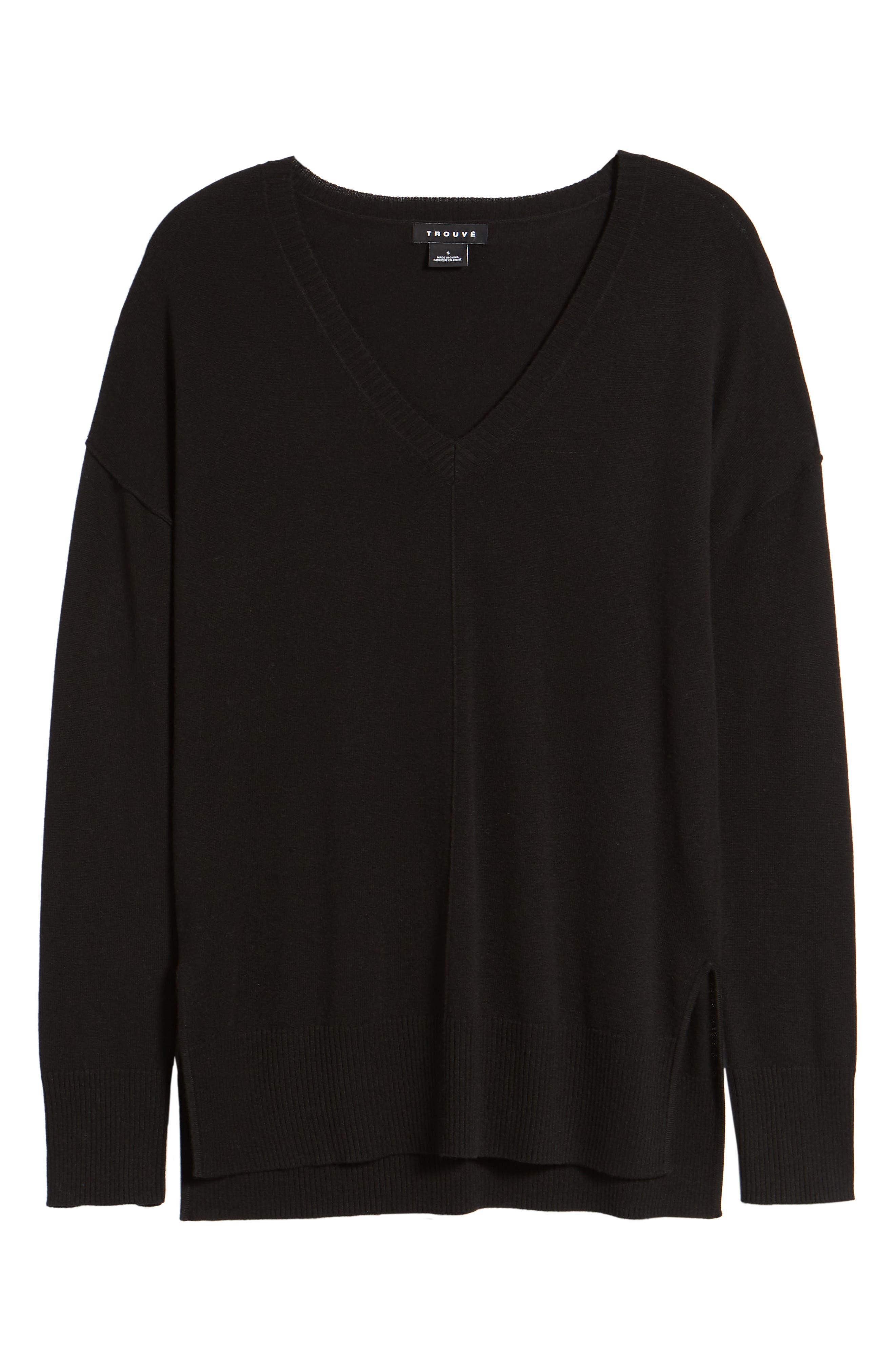 Side Slit Sweater,                             Alternate thumbnail 7, color,                             001