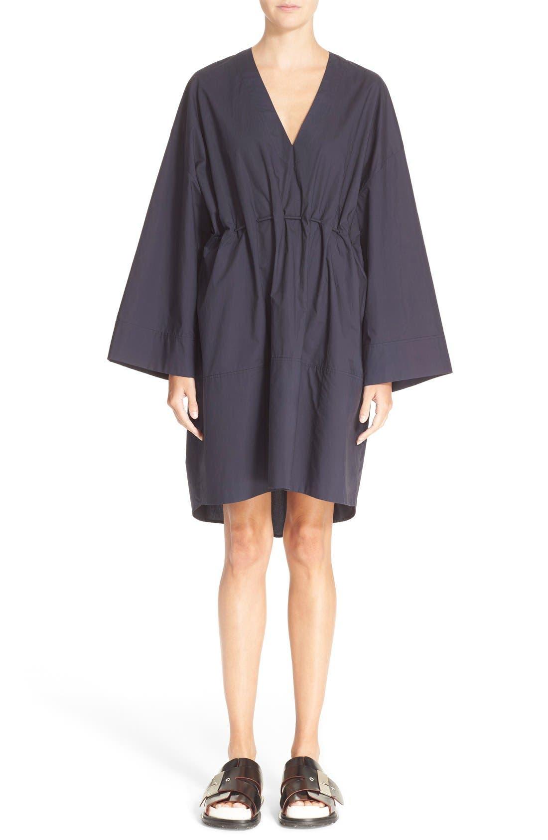 Calida Cotton Drawstring Dress,                             Main thumbnail 1, color,                             001