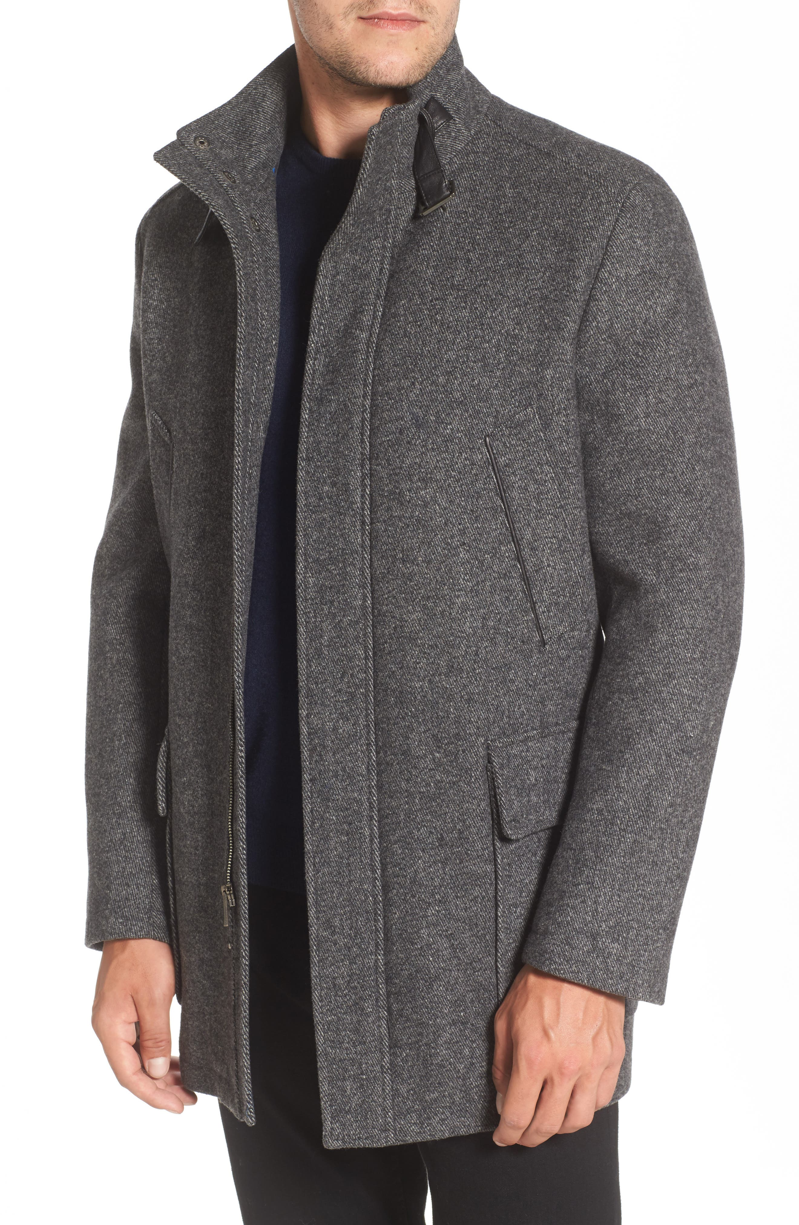 Wool Blend Car Coat with Removable Knit Bib,                             Alternate thumbnail 4, color,                             073