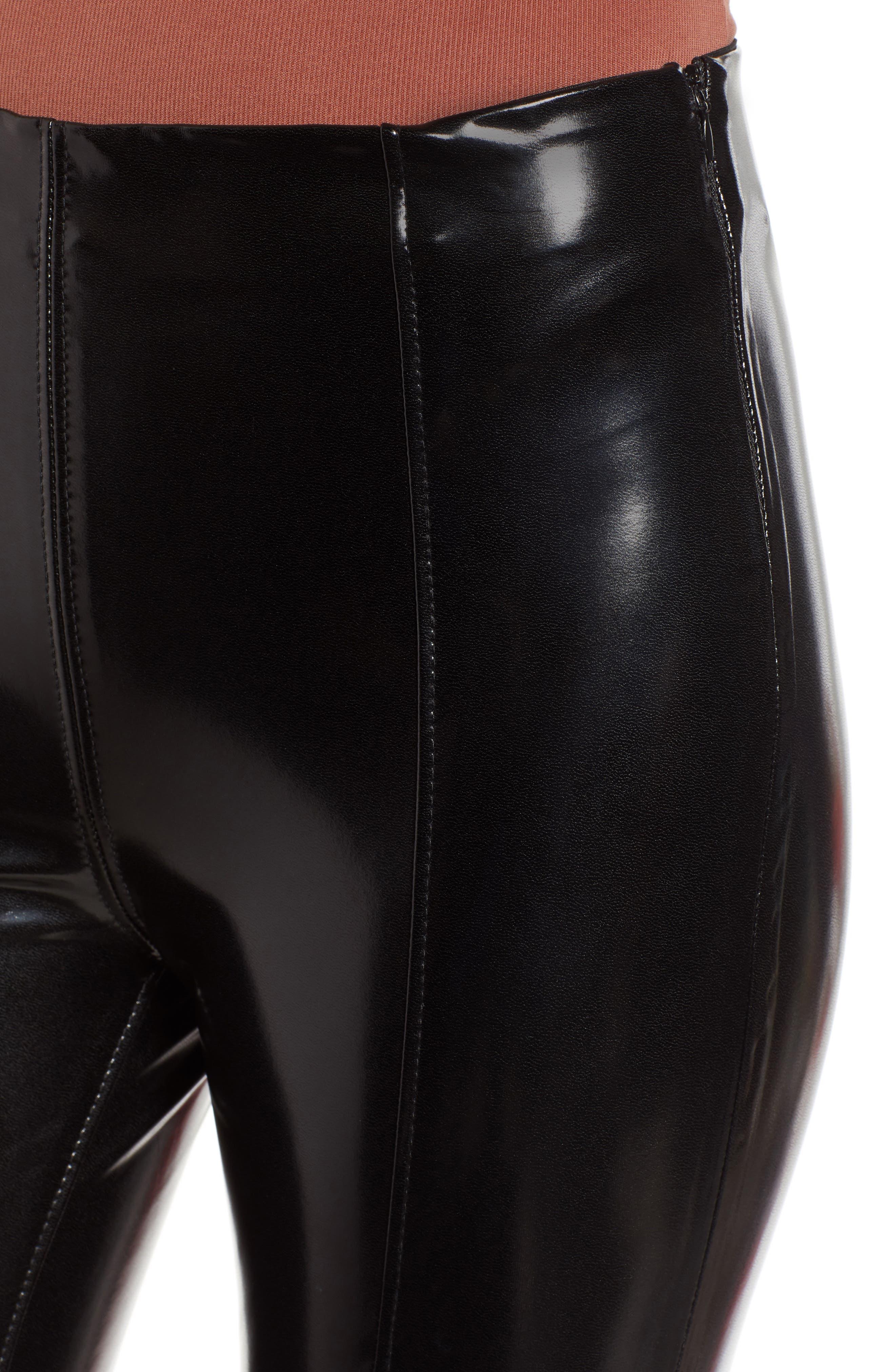 Patent Faux Leather Leggings,                             Alternate thumbnail 4, color,                             BLACK