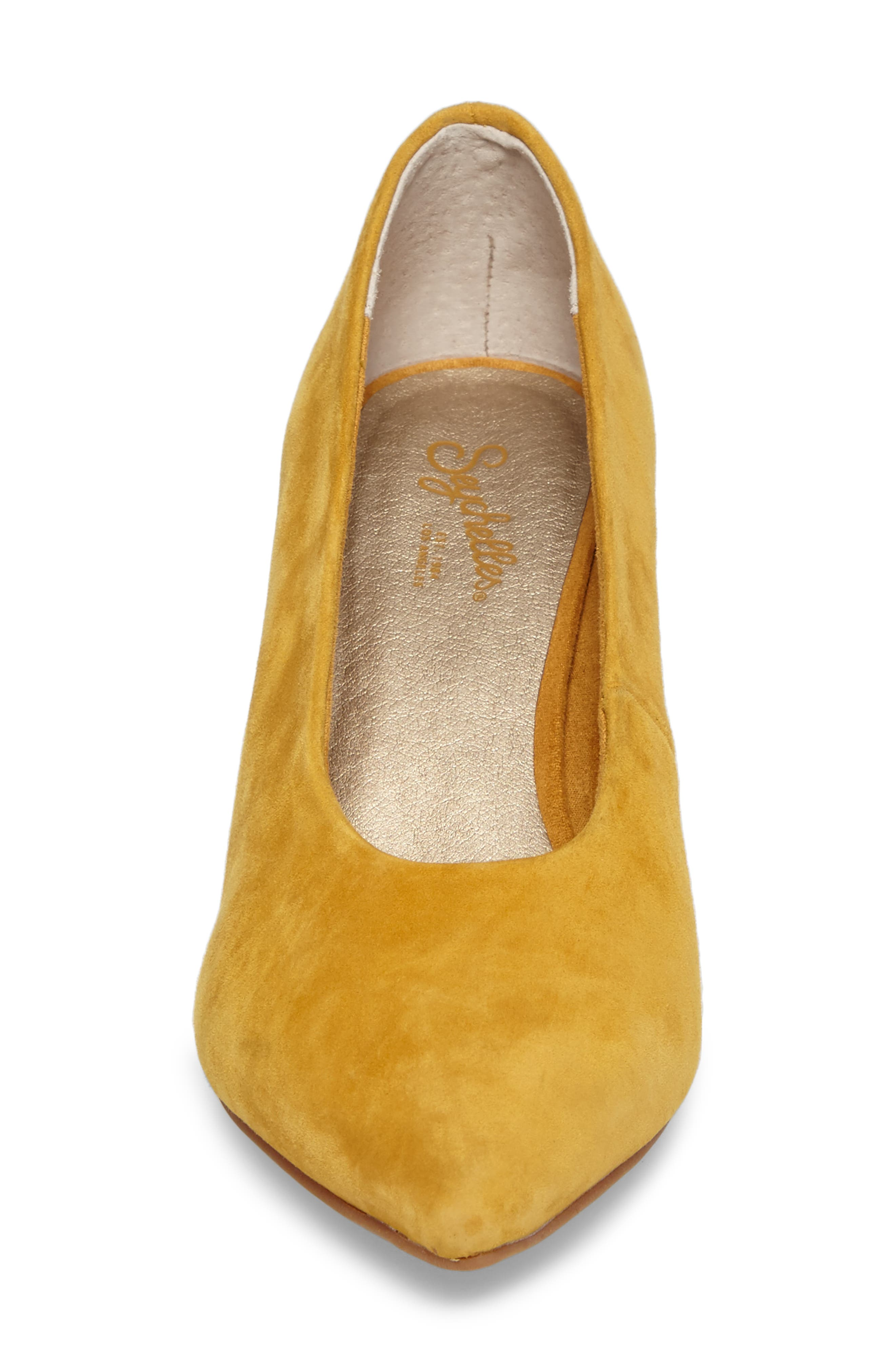 Rehearse Pointy Toe Pump,                             Alternate thumbnail 4, color,                             MUSTARD SUEDE