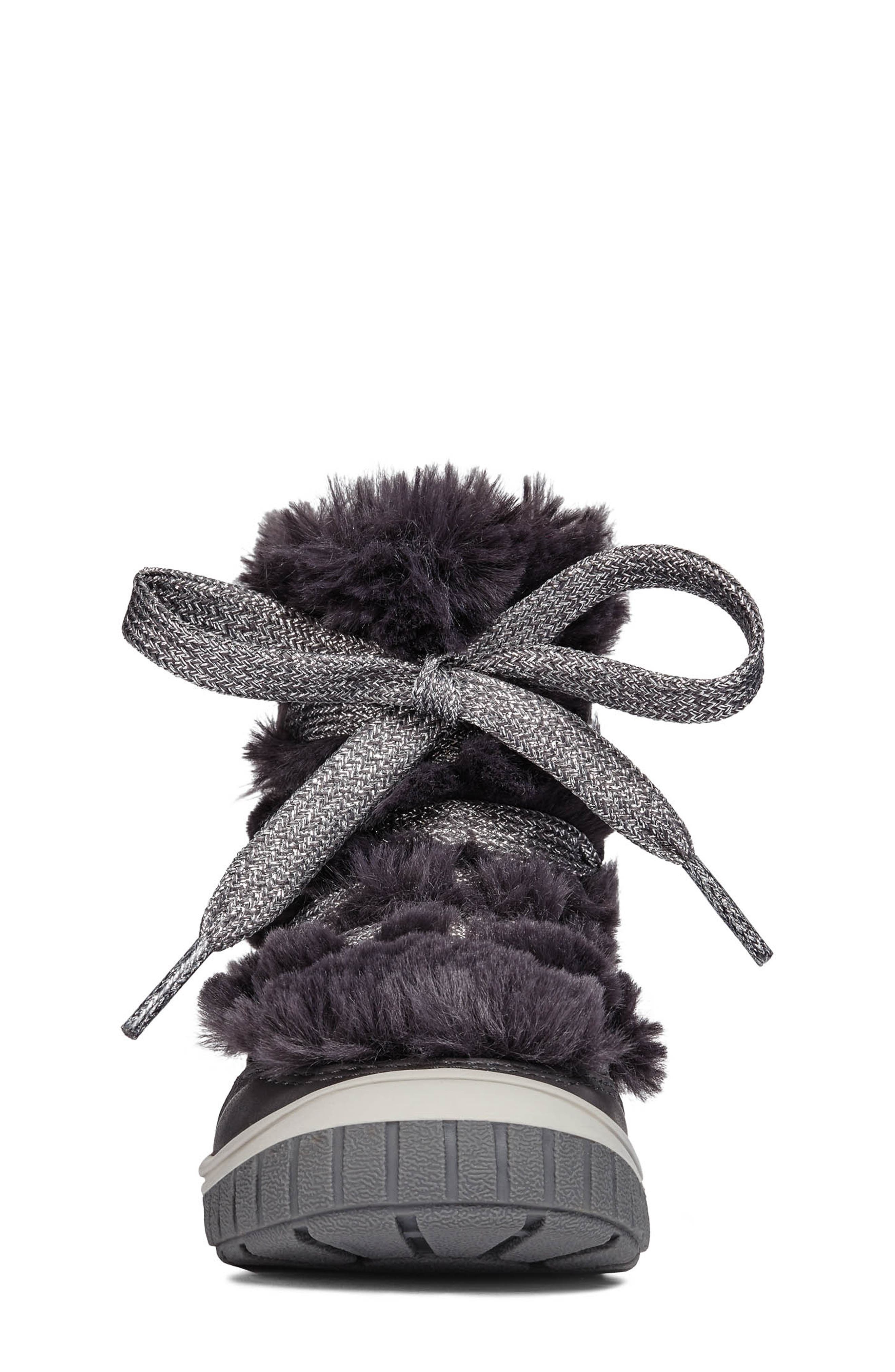 Omar Lace Up Boot with Faux Fur Trim,                             Alternate thumbnail 4, color,                             DARK GREY
