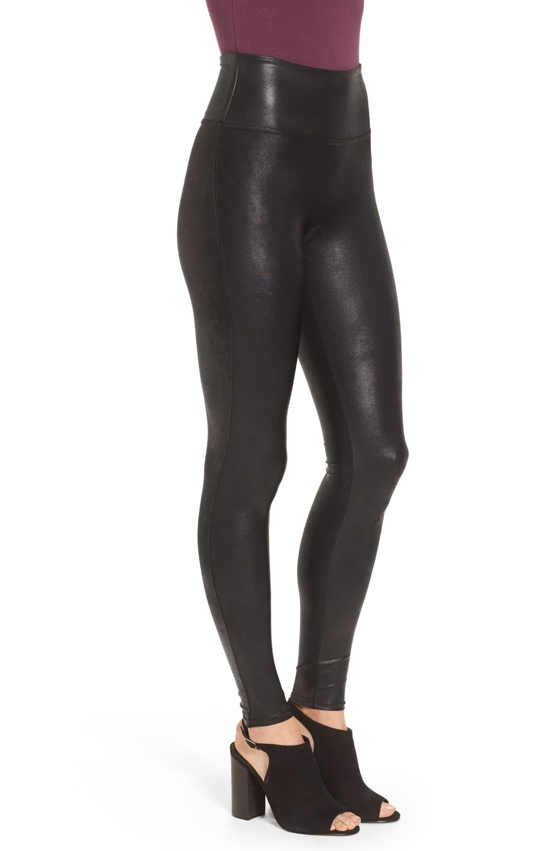 SPANX<SUP>®</SUP>,                             Faux Leather Leggings,                             Alternate thumbnail 7, color,                             BLACK