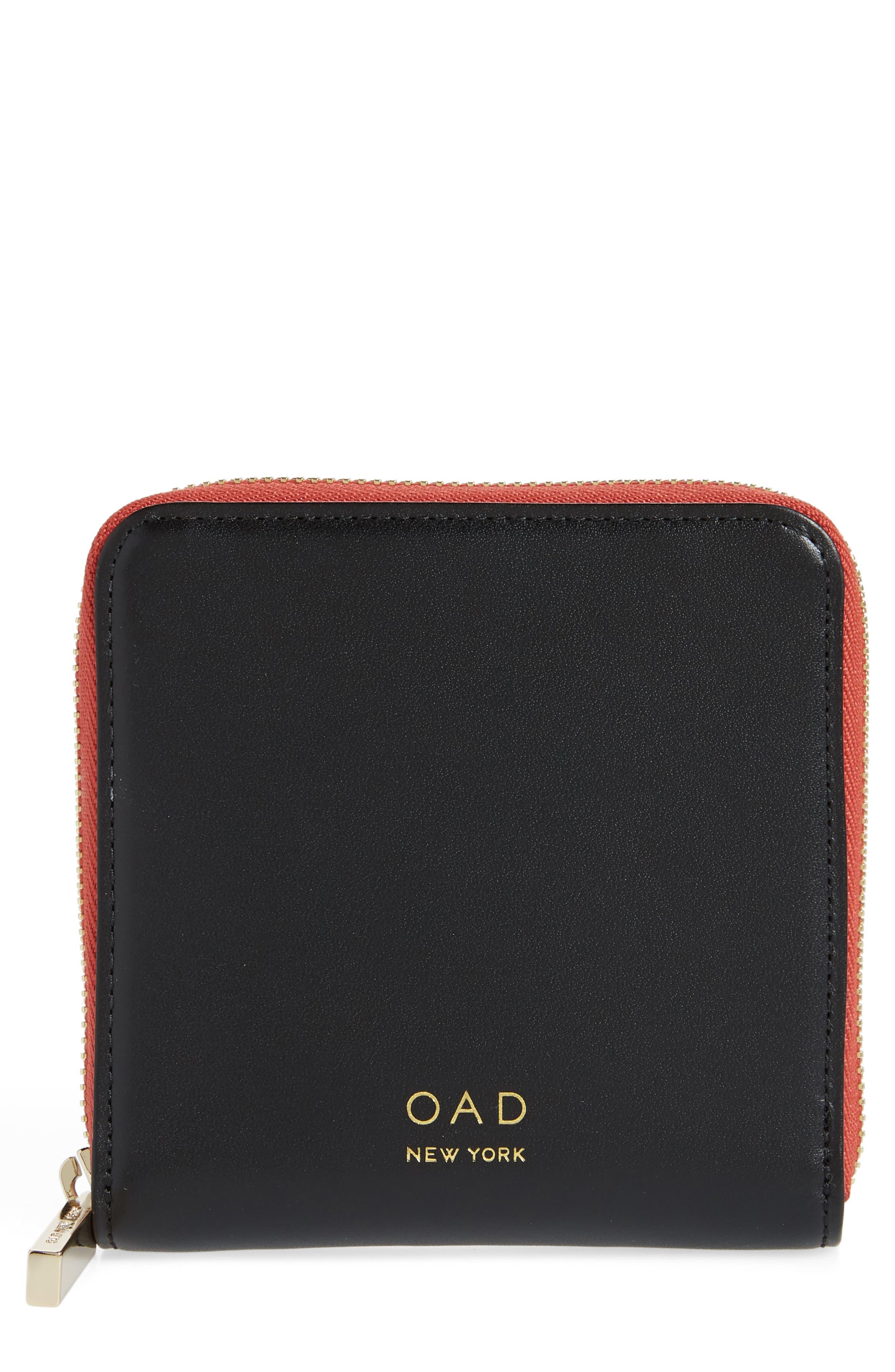 Half Zip Carryall Wallet,                         Main,                         color, TRUE BLACK/ ROSEWOOD