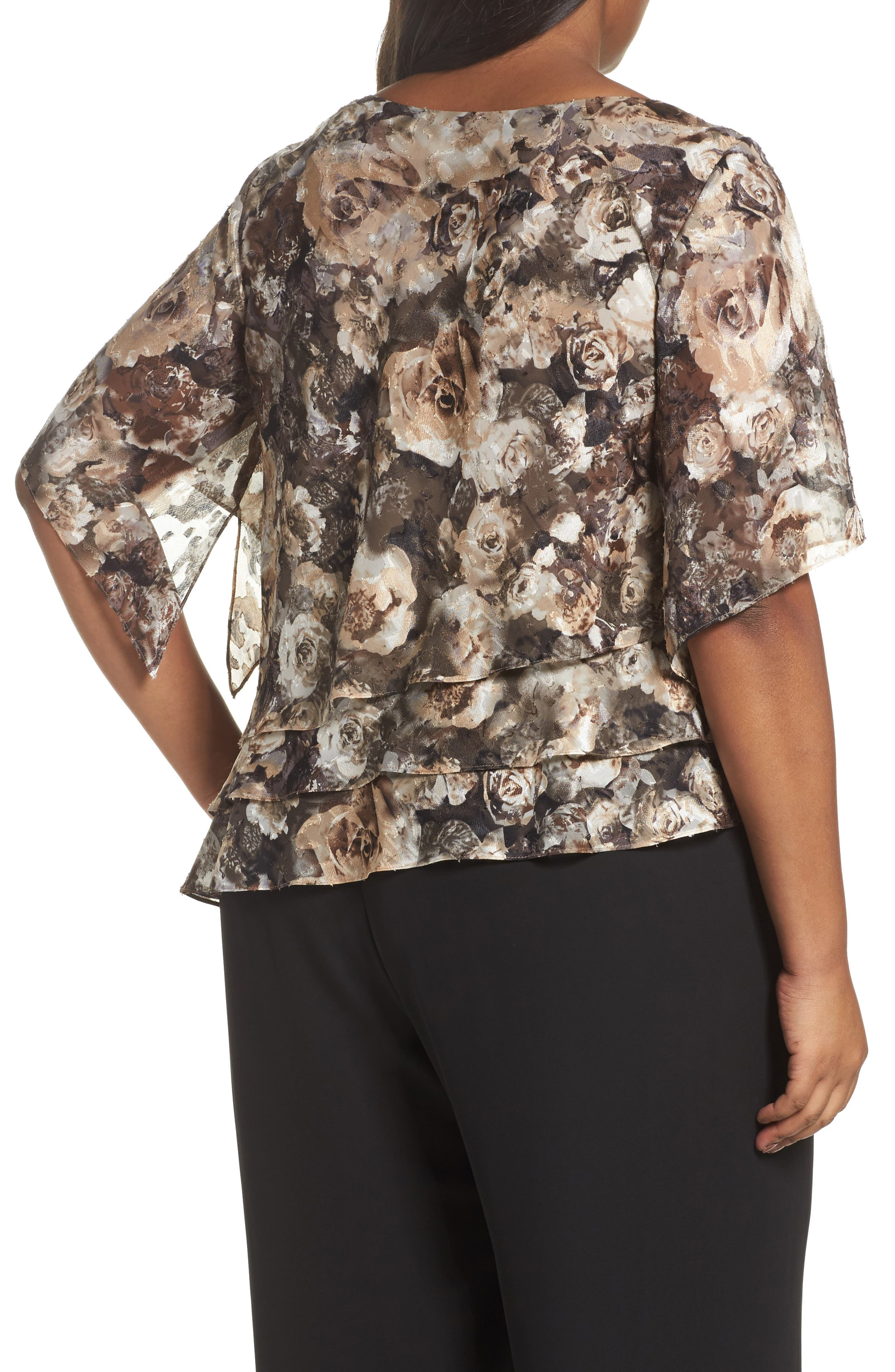 Tiered Chiffon Top,                             Alternate thumbnail 2, color,                             266