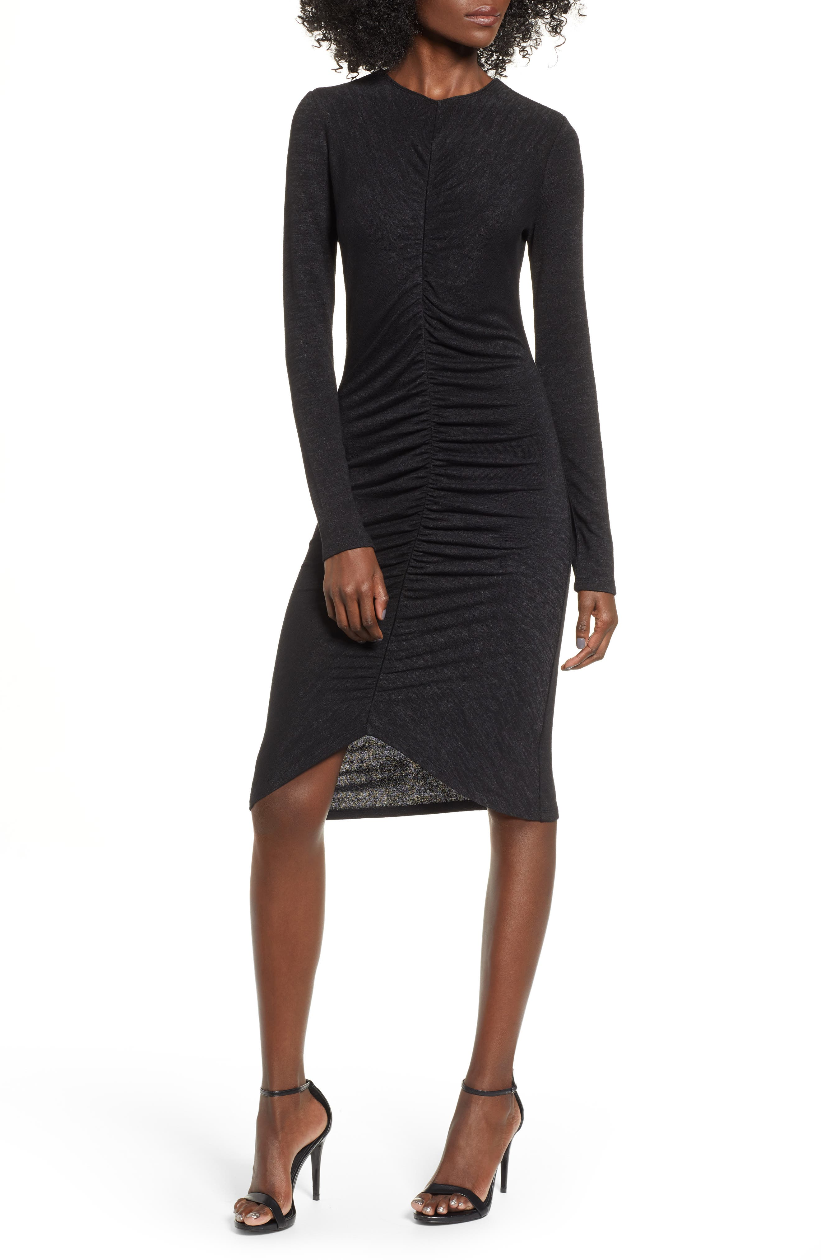 Leith Ruched Front Dress, Black