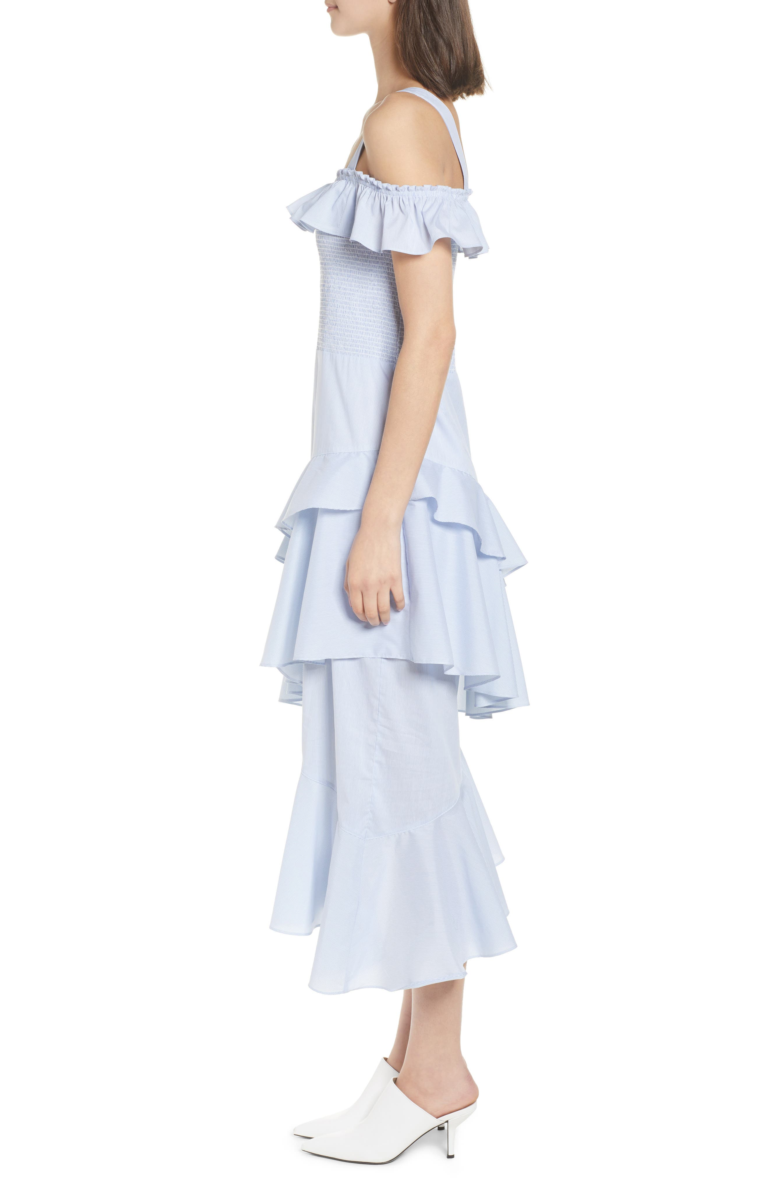 Ruffle Smocked Cold Shoulder Dress,                             Alternate thumbnail 3, color,                             420