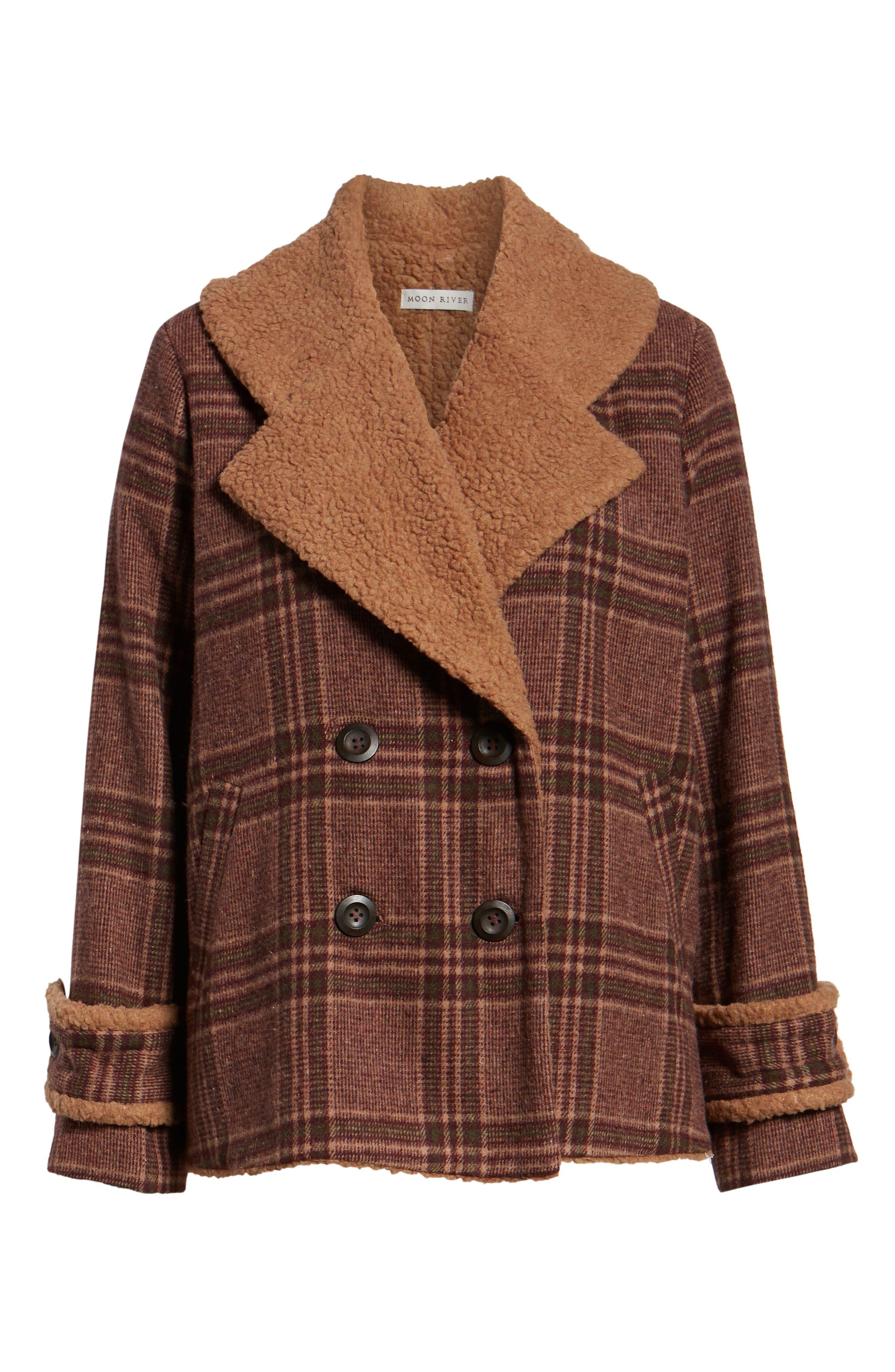Faux Shearling Trim Plaid Jacket,                             Alternate thumbnail 6, color,                             BROWN PLAID