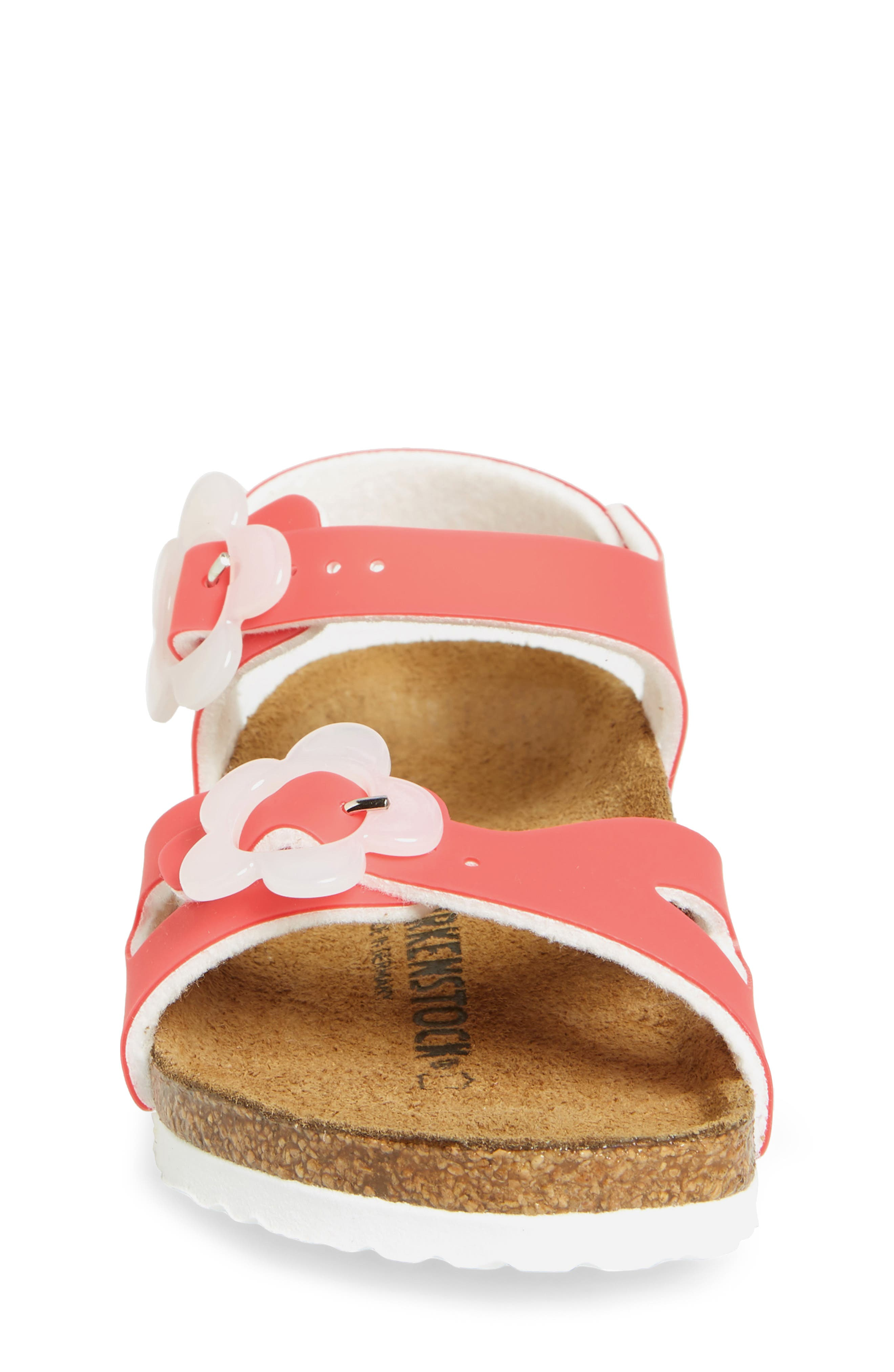 Rio Flowered Sandal,                             Alternate thumbnail 4, color,                             CANDY PINK