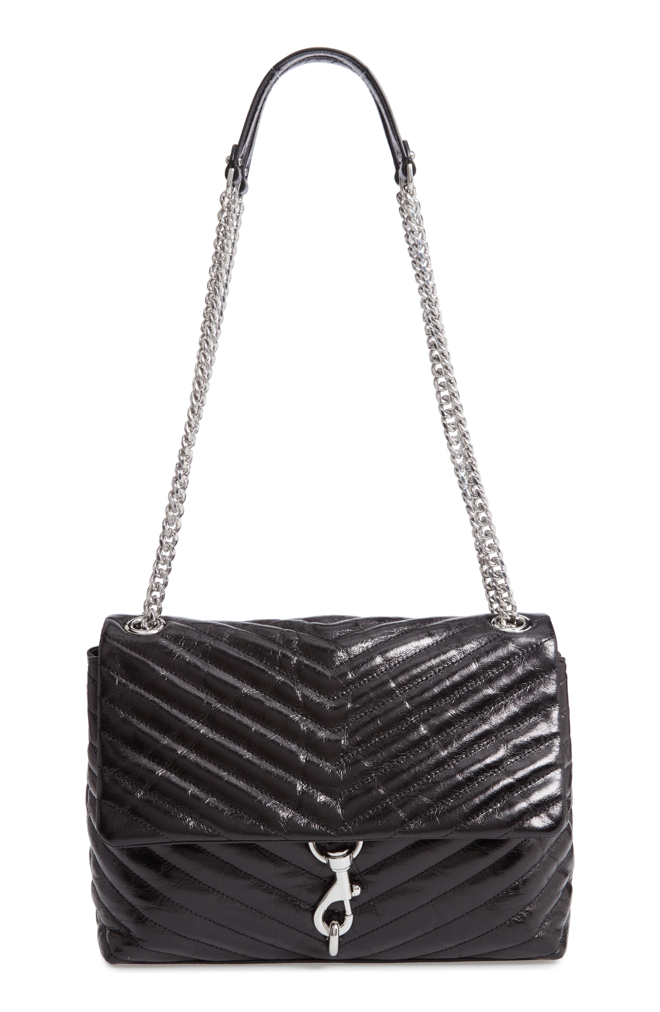 Edie Flap Front Leather Shoulder Bag,                         Main,                         color, BLACK
