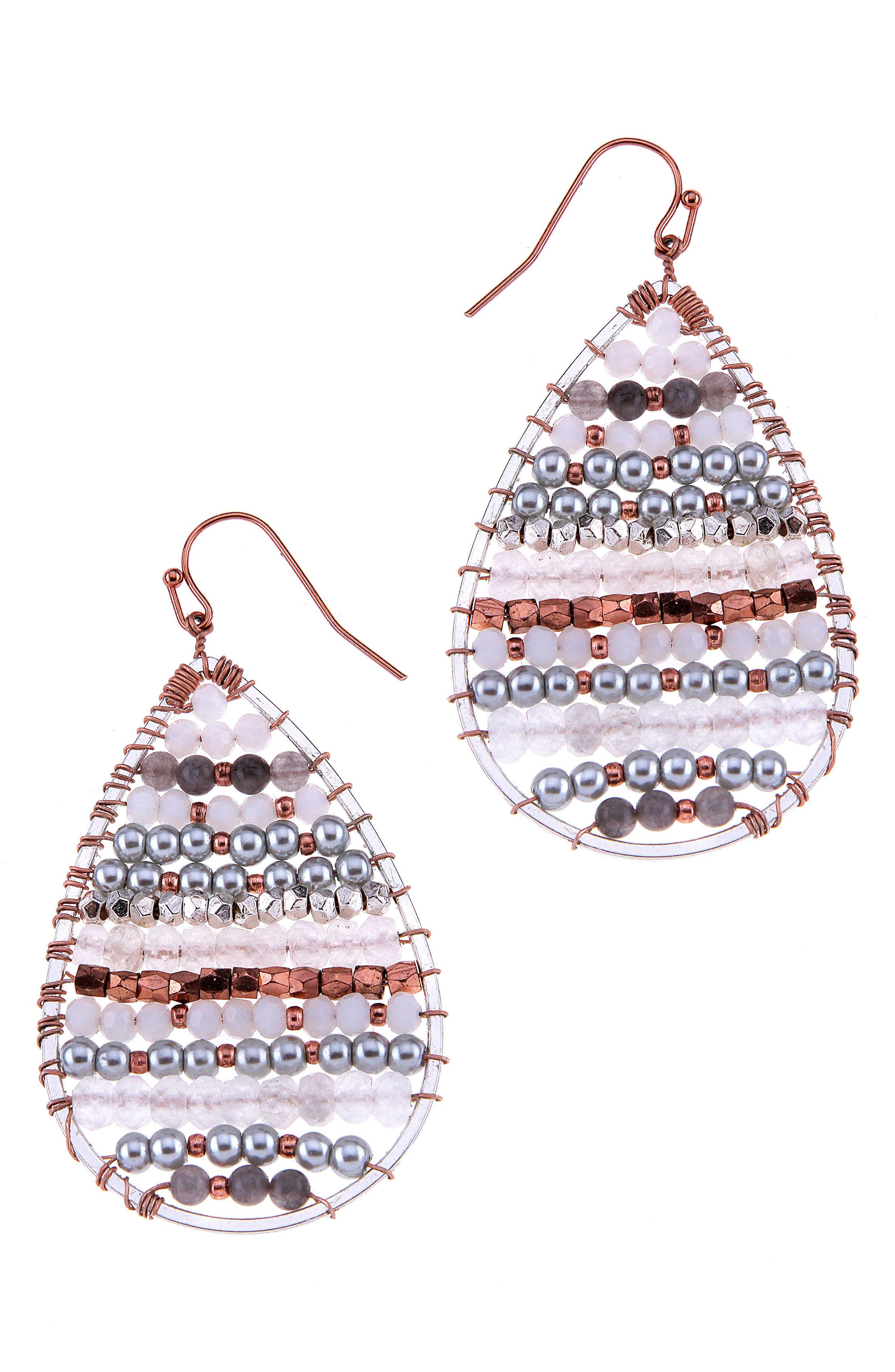 Beaded Moonstone Teardrop Earrings,                             Main thumbnail 1, color,                             100