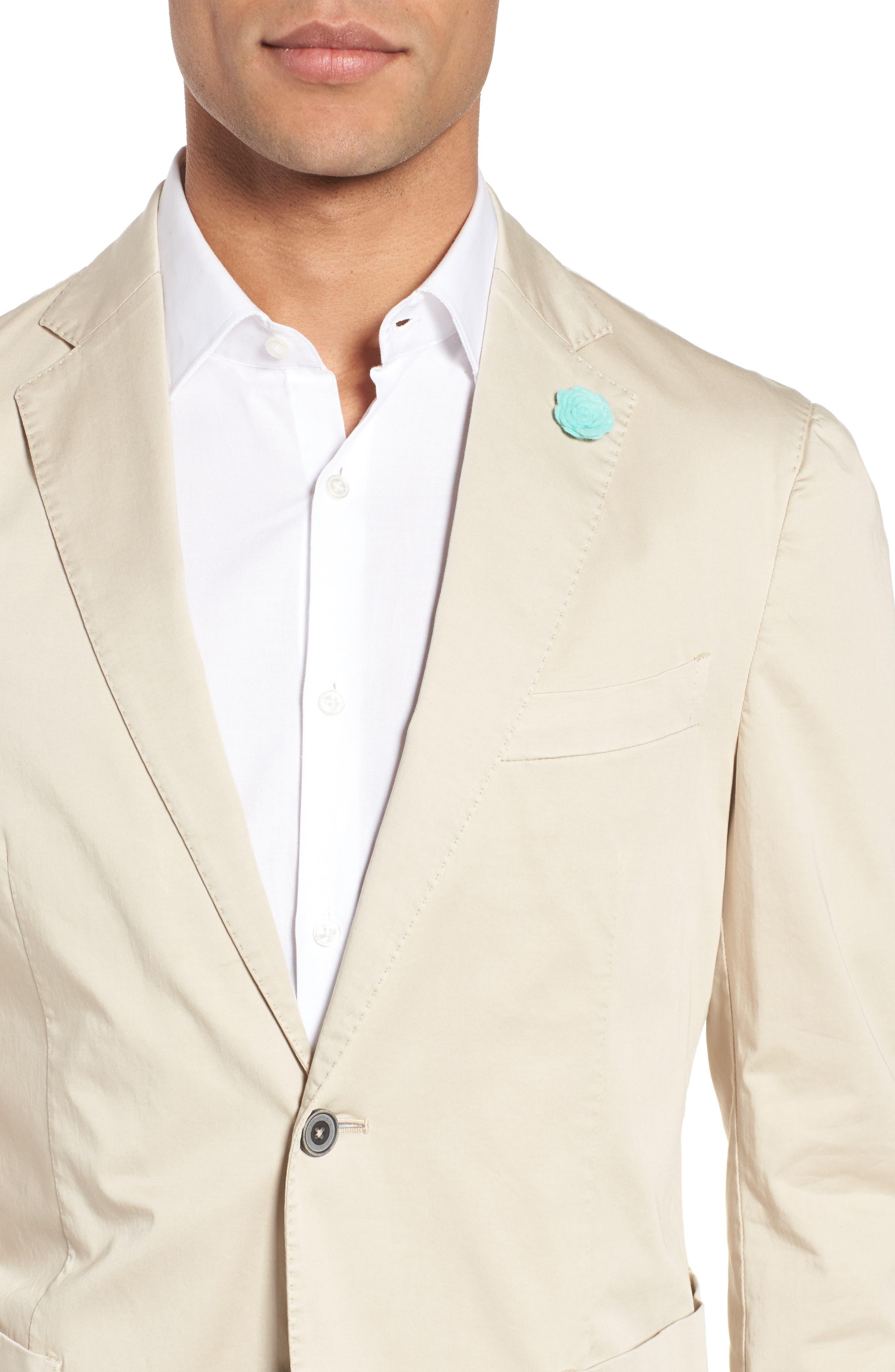 Trim Fit Stretch Cotton Blazer,                             Alternate thumbnail 4, color,                             250