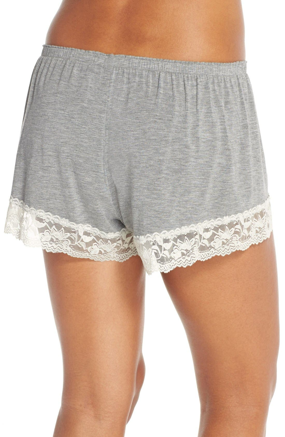 Flora Nikrooz Snuggle Lounge Shorts,                             Alternate thumbnail 9, color,                             HEATHER GREY
