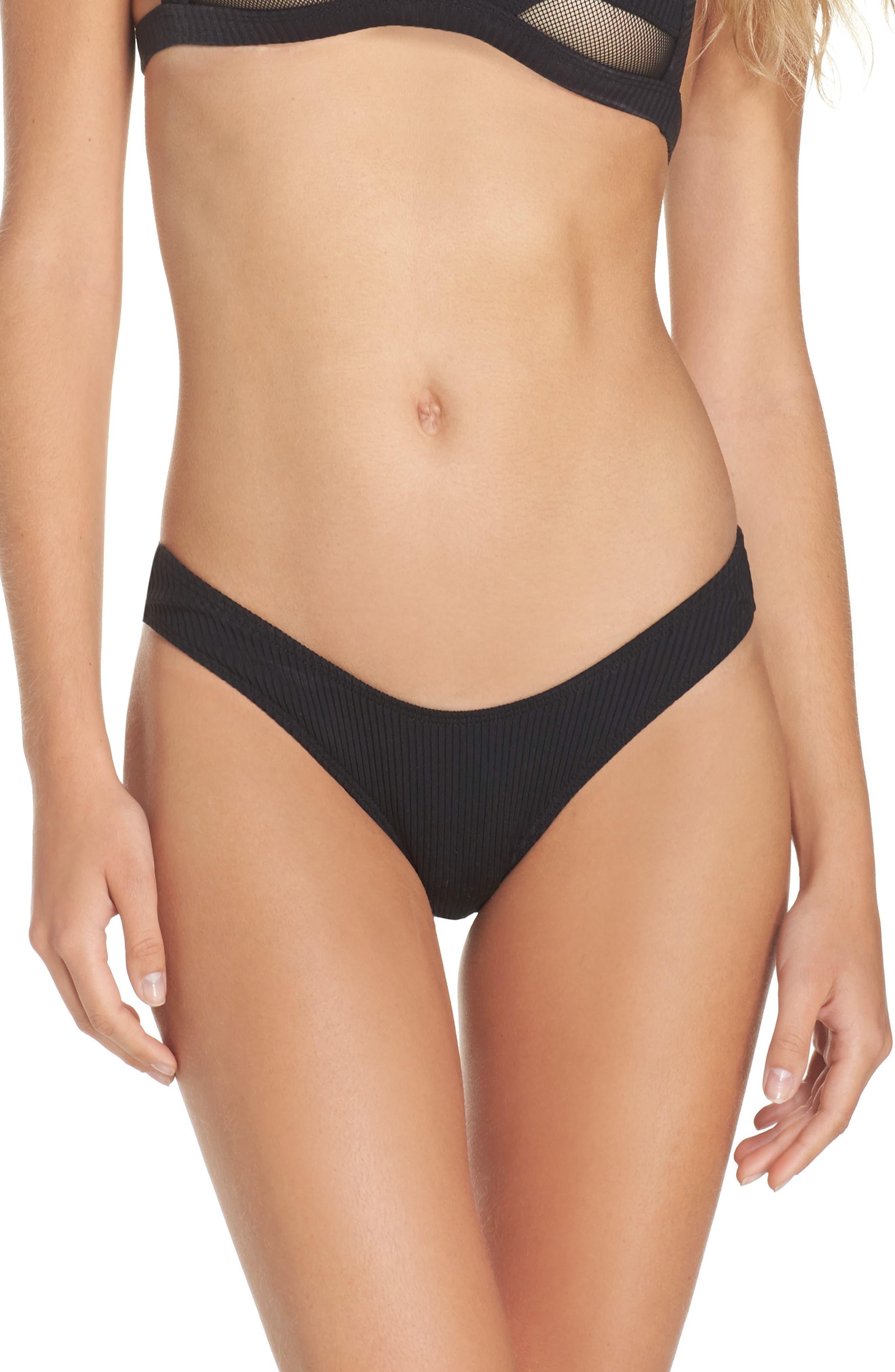 Ribbed Bikini Bottoms,                         Main,                         color, 001